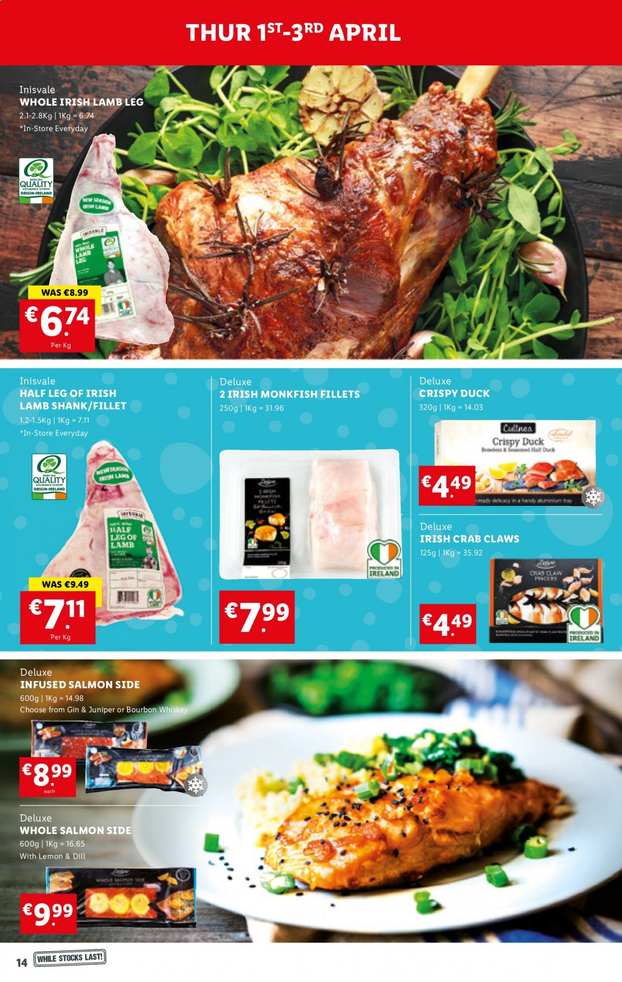 Lidl offer  - 1.4.2021 - 7.4.2021 - Sales products - monkfish, salmon, crab, dill, bourbon, gin, whiskey, bourbon whiskey, whisky, duck, lamb meat, lamb shank, lamb leg. Page 14.