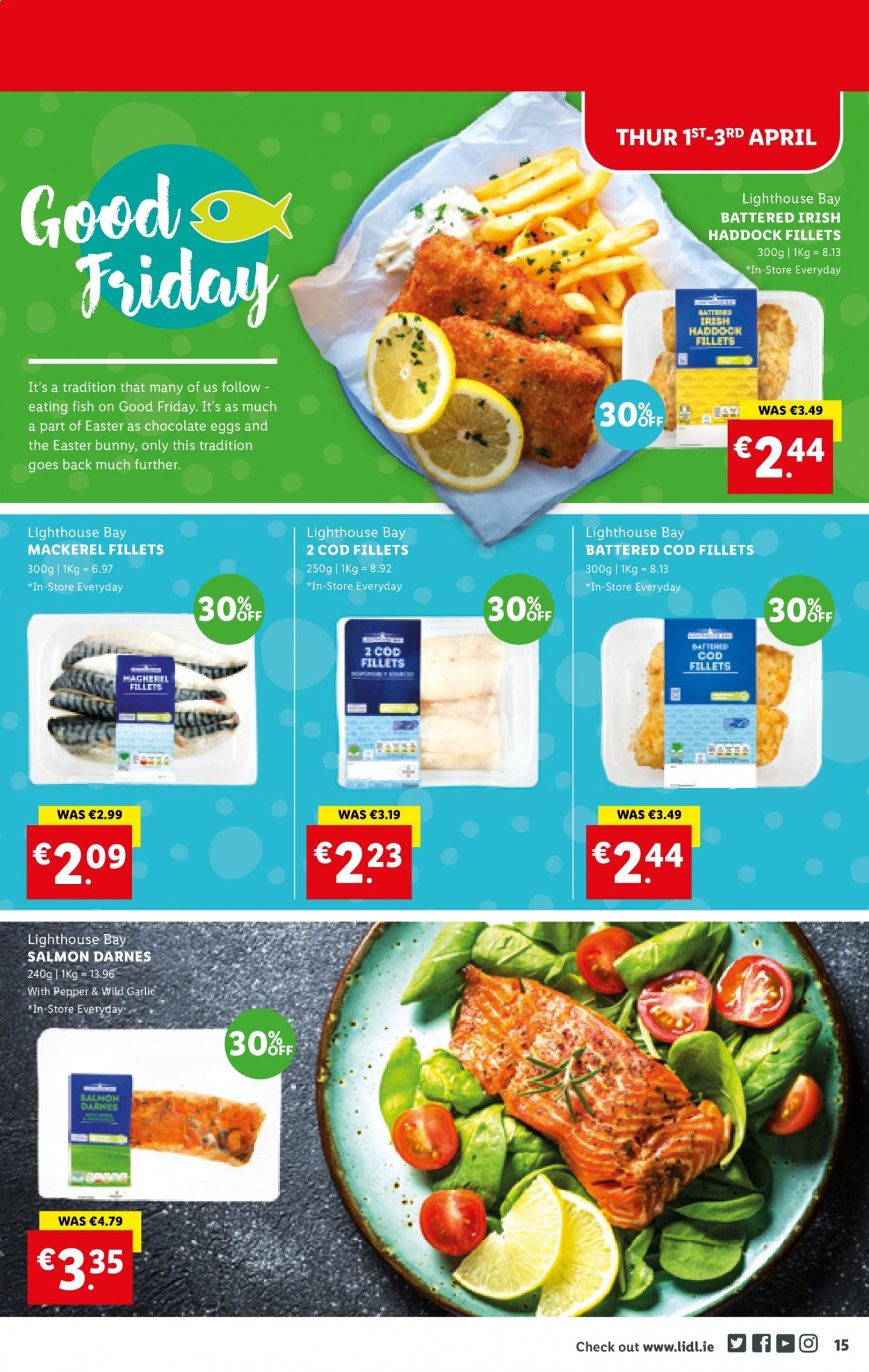 Lidl offer  - 1.4.2021 - 7.4.2021 - Sales products - garlic, cod, mackerel, salmon, haddock, fish, chocolate, chocolate eggs. Page 15.
