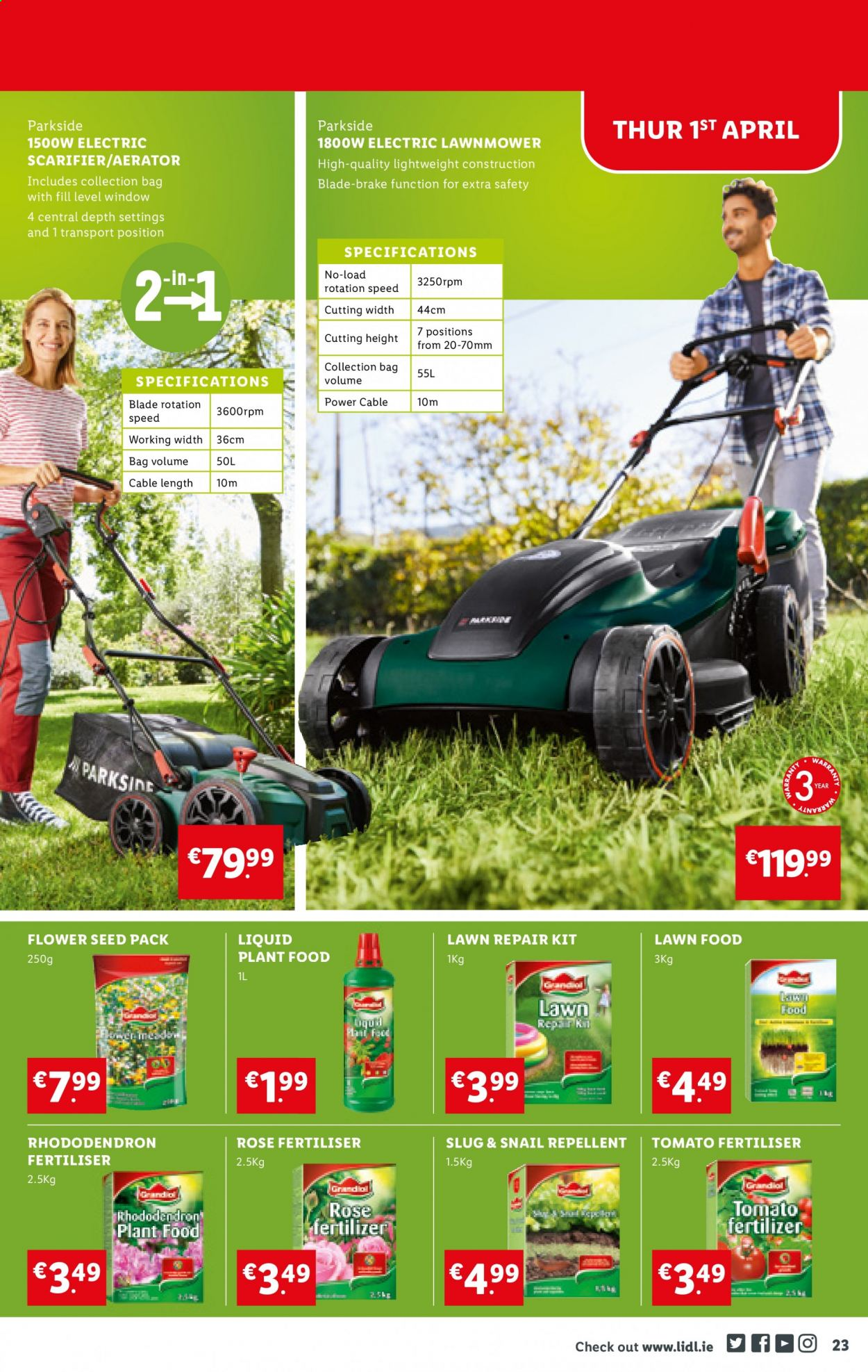 Lidl offer  - 1.4.2021 - 7.4.2021 - Sales products - repellent, bag, Parkside, seed, plant, rose. Page 23.