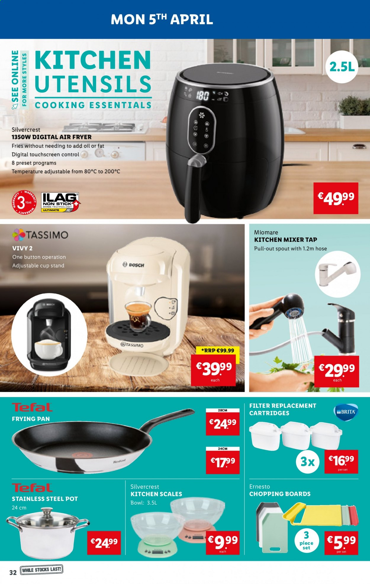 Lidl offer  - 1.4.2021 - 7.4.2021 - Sales products - SilverCrest, potato fries, oil, Ernesto, Tefal, utensils, pot, pan, cup, bowl, air fryer, mixer tap, kitchen mixer, essentials. Page 32.