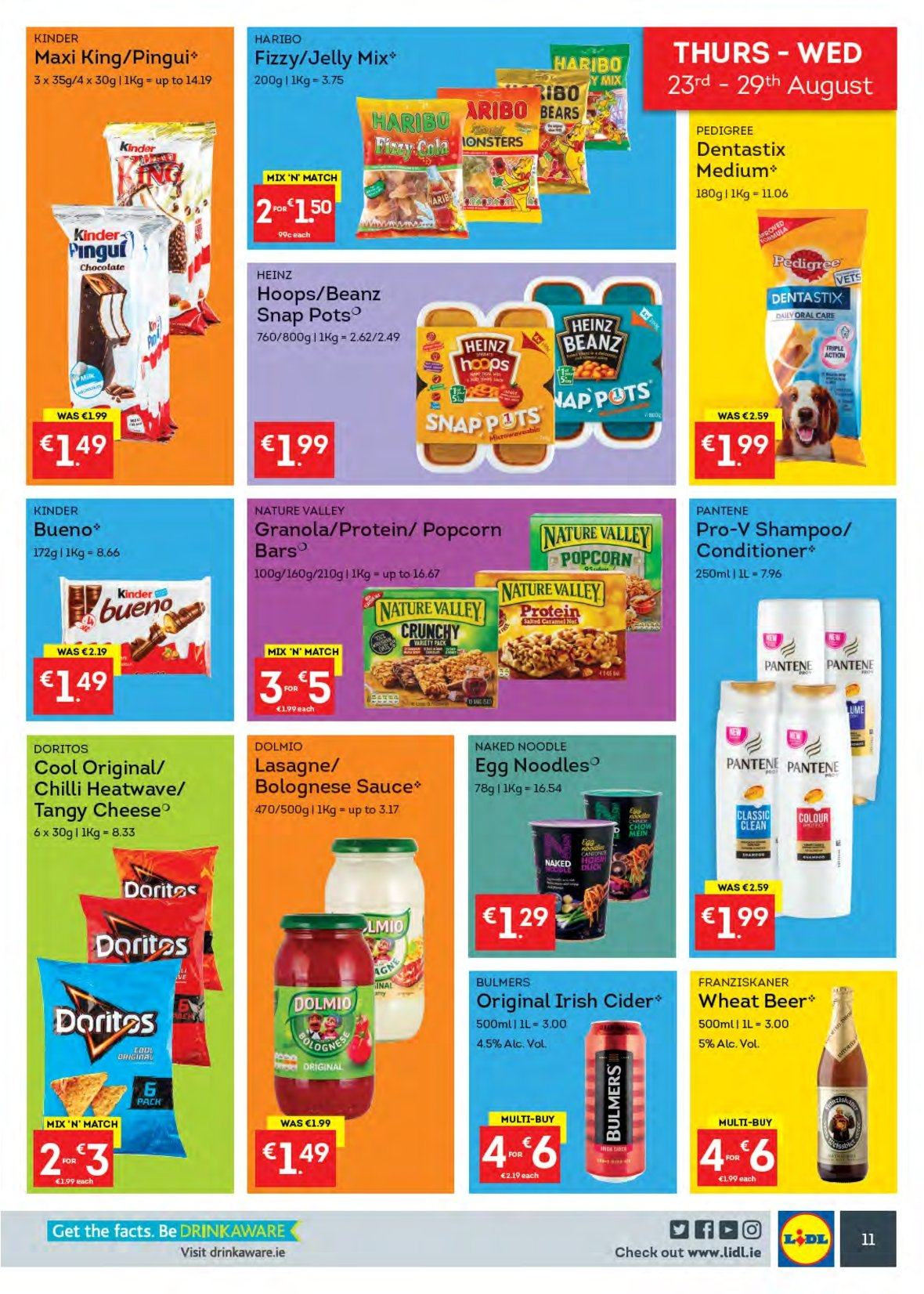 Lidl offer  - 20.8.2018 - 26.8.2018 - Sales products - sauce, cheese, jelly, eggs, Haribo, Doritos, popcorn, Heinz, bolognese sauce, granola, Nature Valley, lasagne sheets, noodles, apple cider, beer, Bulmers, conditioner, Pantene, Dentastix, Pedigree. Page 11.