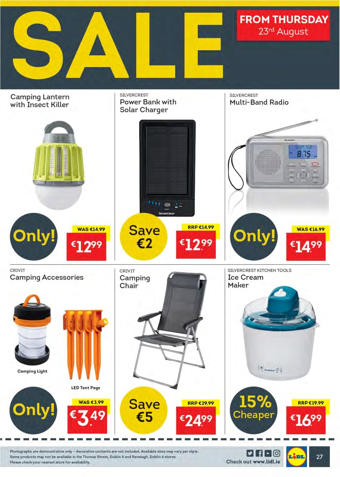 Lidl offer  - 20.8.2018 - 26.8.2018 - Sales products - Crivit, SilverCrest, ice cream, insect killer, kitchen tools, charger, power bank, radio, lantern. Page 27.