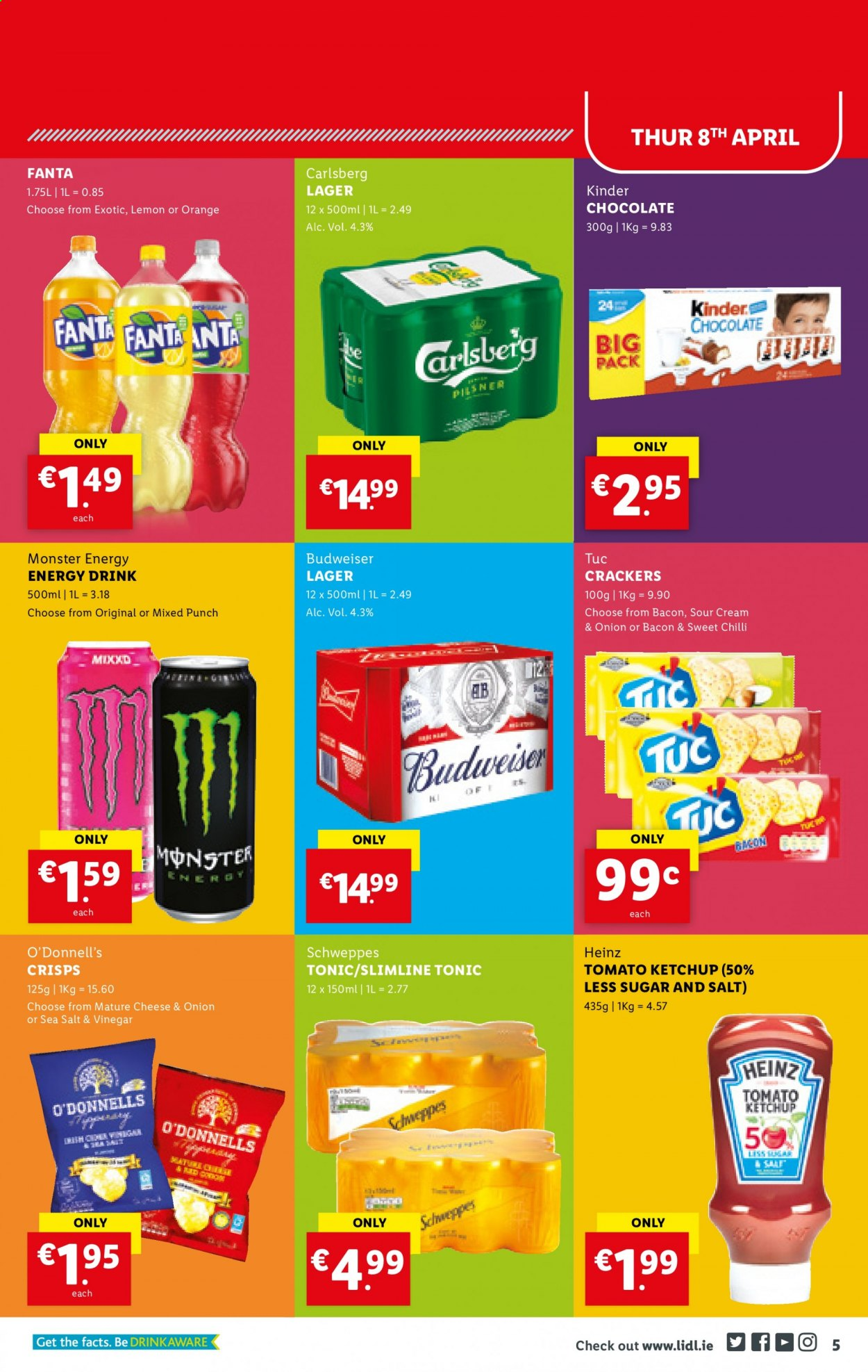Lidl offer  - 8.4.2021 - 14.4.2021 - Sales products - bacon, chocolate, crackers, Heinz, ketchup, vinegar, Schweppes, Fanta, energy drink, Monster, tonic, Monster Energy, punch, beer, Budweiser, Carlsberg, Lager. Page 5.