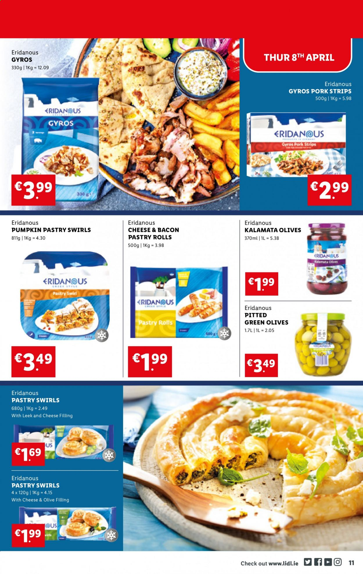 Lidl offer  - 8.4.2021 - 14.4.2021 - Sales products - rolls, leek, pumpkin, bacon, strips, olives. Page 11.