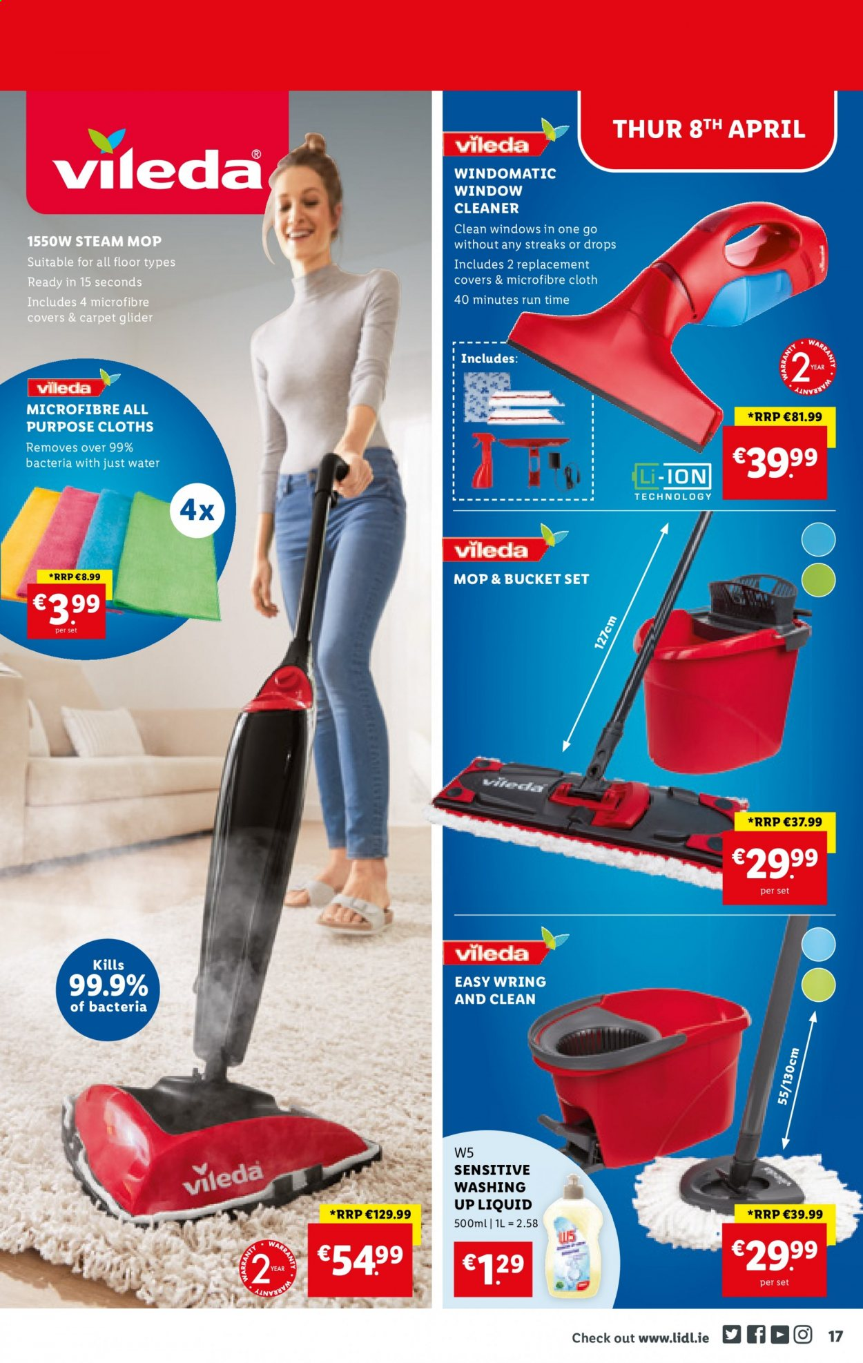 Lidl offer  - 8.4.2021 - 14.4.2021 - Sales products - cleaner, dishwashing liquid, Vileda, mop, bucket, water. Page 17.
