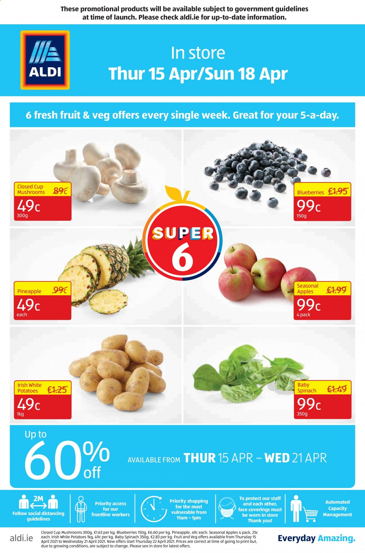 Aldi offer  - 15.4.2021 - 21.4.2021 - Sales products - spinach, potatoes, blueberries, pineapple, apples. Page 1.