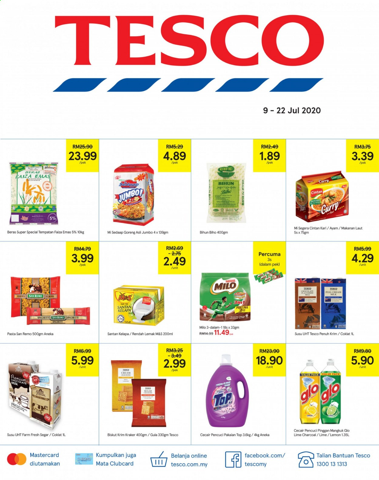 Iklan TESCO - 09.07.2020 - 22.07.2020 - Produk jualan - milk, crackers, cream, charcoal, chocolate, chocolate milk, lemon, nestlé, spaghetti, sugar. Halaman 1.