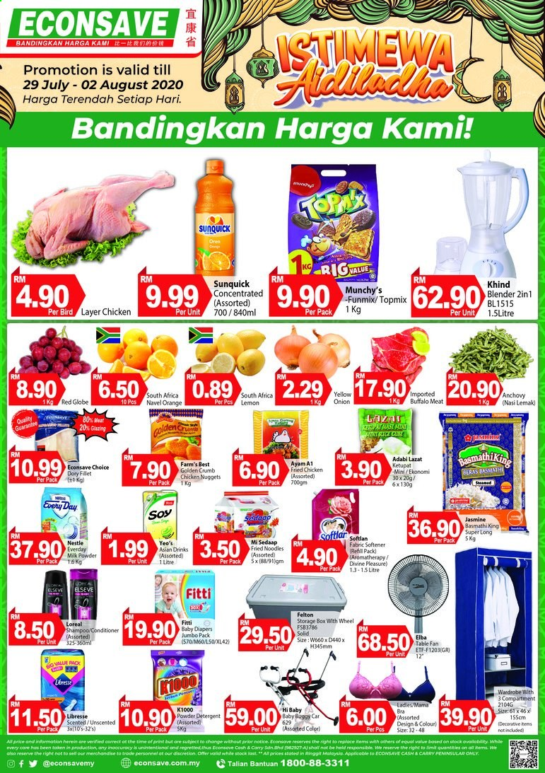 Iklan Econsave - 29.07.2020 - 02.08.2020 - Produk jualan - chicken, milk, rice, blender, box, bra, conditioner, detergent, lemon, nestlé, powder, red globe grapes, shampoo, solid, storage, wardrobe. Halaman 1.