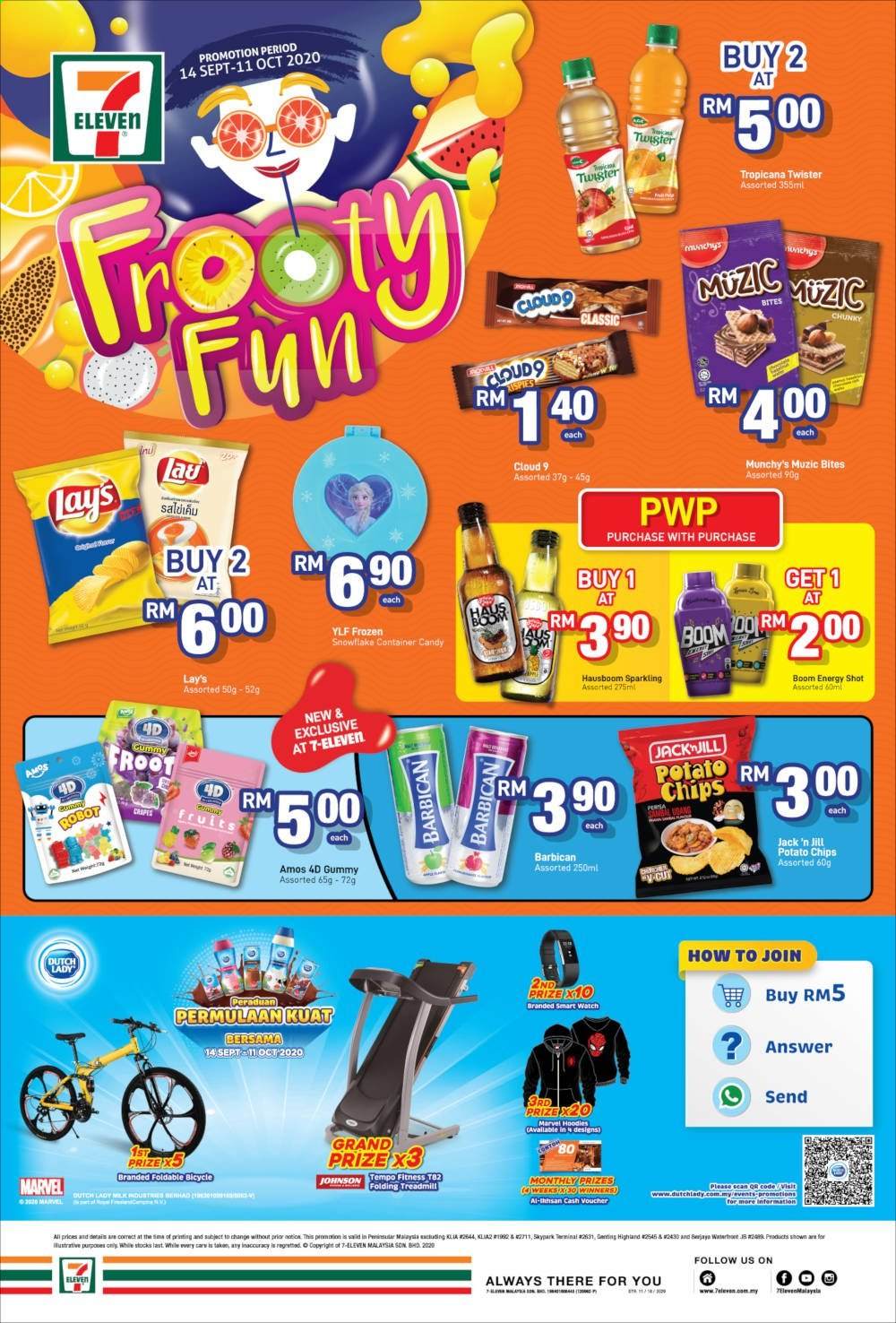 Iklan 7 Eleven - 14.09.2020 - 11.10.2020 - Produk jualan - always, container, frozen, grand, hoodie, chips, marvel, potato chips, robot, car, candy, gummy, lay's, twister, treadmill, bites, smart watch. Halaman 1.