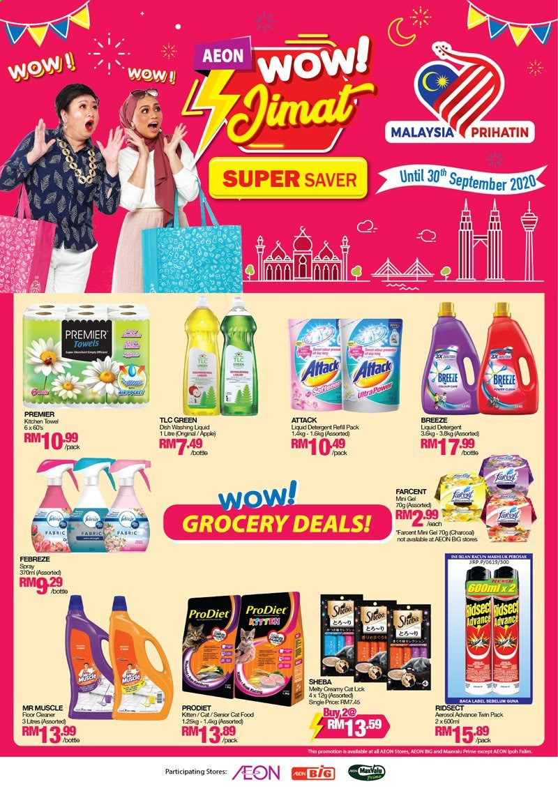 Iklan Aeon - 01.09.2020 - 30.09.2020 - Produk jualan - akg, animal food, apple, cat food, detergent, febreze, kitchen, towel, cleaner, liquid detergent, liquid, dish, kitchen towel, floor cleaner. Halaman 1.