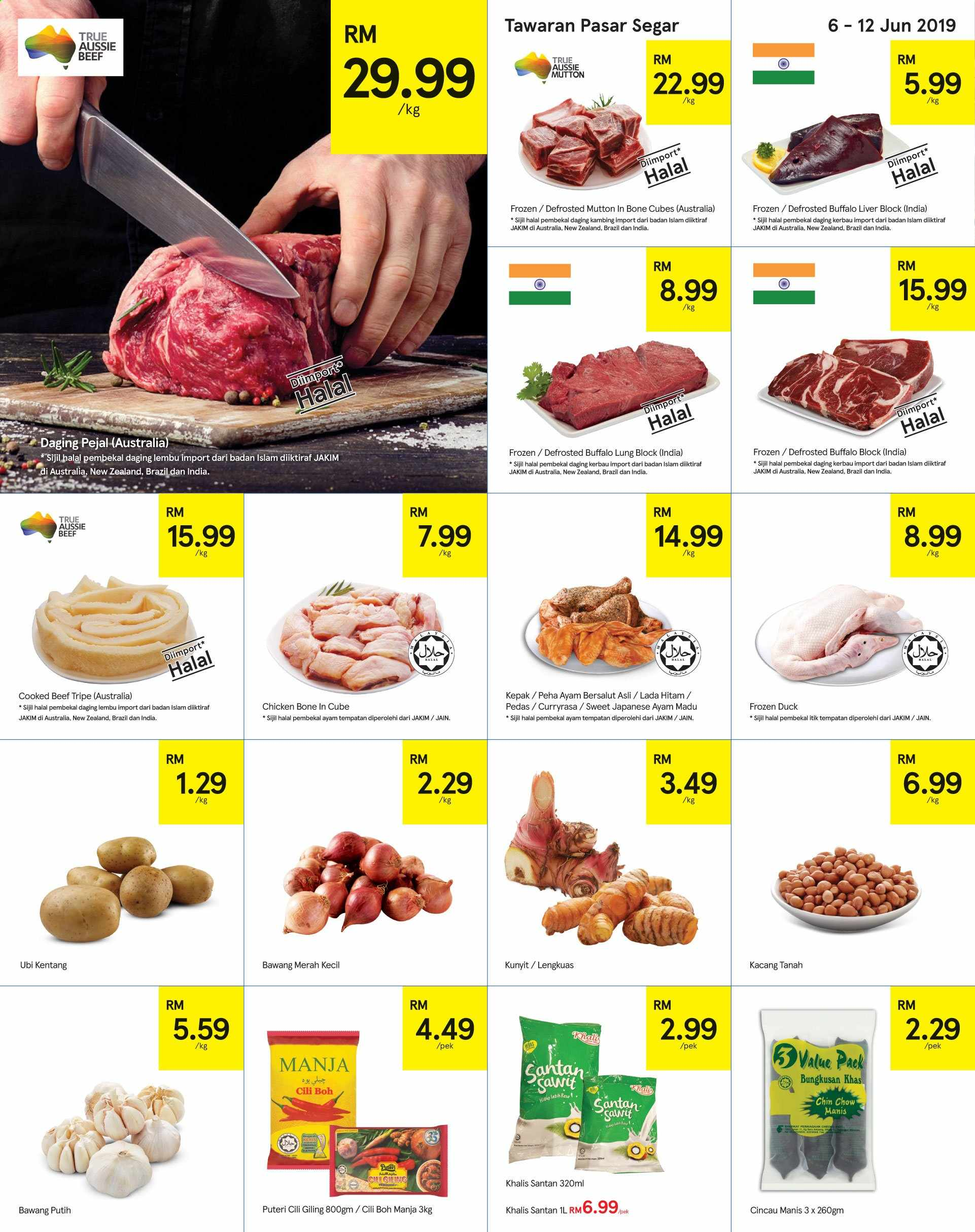 Iklan TESCO - 06.06.2019 - 19.06.2019 - Produk jualan - chicken, aussie, bawang merah, bawang putih, beef meat, beef tripe, daging pejal, duck, frozen, chicken bone, chicken bone in cube, chow, kentang, madu, mutton meat, tempatan. Halaman 4.