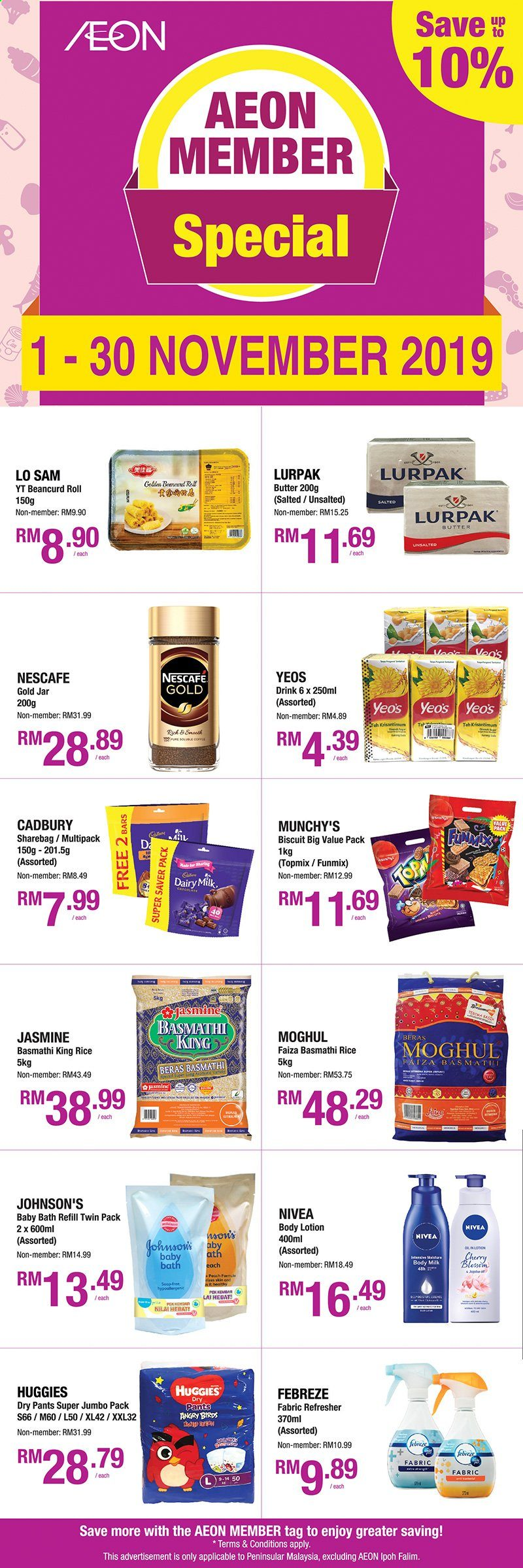 Iklan Aeon - 01.11.2019 - 30.11.2019 - Produk jualan - milk, rice, tea, bath, beras, body lotion, butter, febreze, huggies, jar, pants, nivea, refresher, top. Halaman 1.
