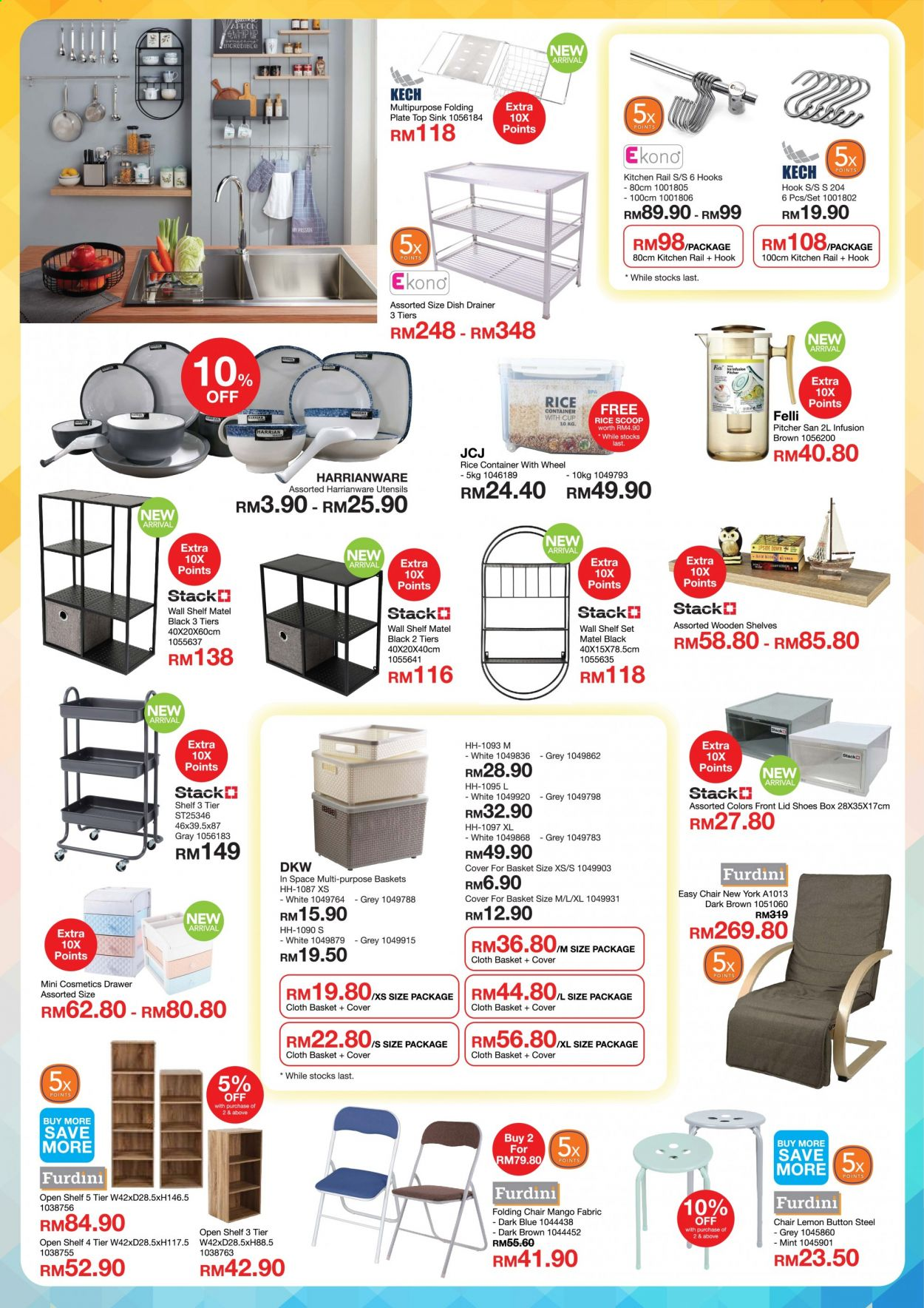 Iklan HomePro - 05.05.2020 - 30.06.2020 - Produk jualan - rice, apron, basket, box, container, cover, drawer, folding chair, chair, hook, kitchen, lemon, lid, mango, mint, pitcher, plate, rail, shelves, shoes, sink, stack, top, utensils, wall shelf. Halaman 3.