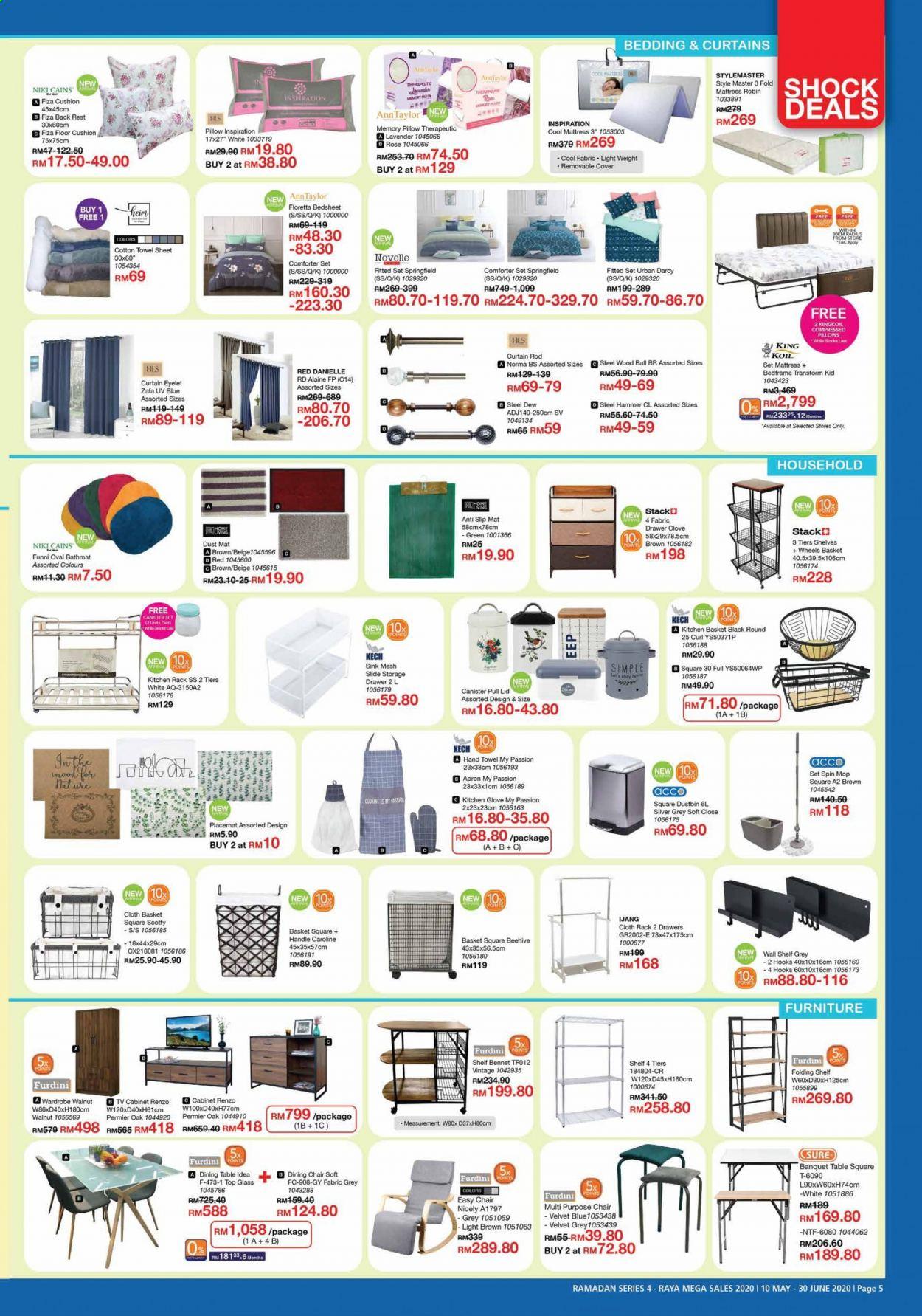 Iklan HomePro - 10.05.2020 - 30.06.2020 - Produk jualan - pillow, apron, basket, bedding, cabinet, comforter, comforter set, cotton, cover, curtain, cushion, d3, dining table, drawer, furniture, glass, glove, chair, hook, hand towel, handles, kitchen, lid, mat, mattress, pan, rack, sheet, shelves, sink, stack, storage, table, top, towel, wall shelf, wardrobe, ball. Halaman 5.