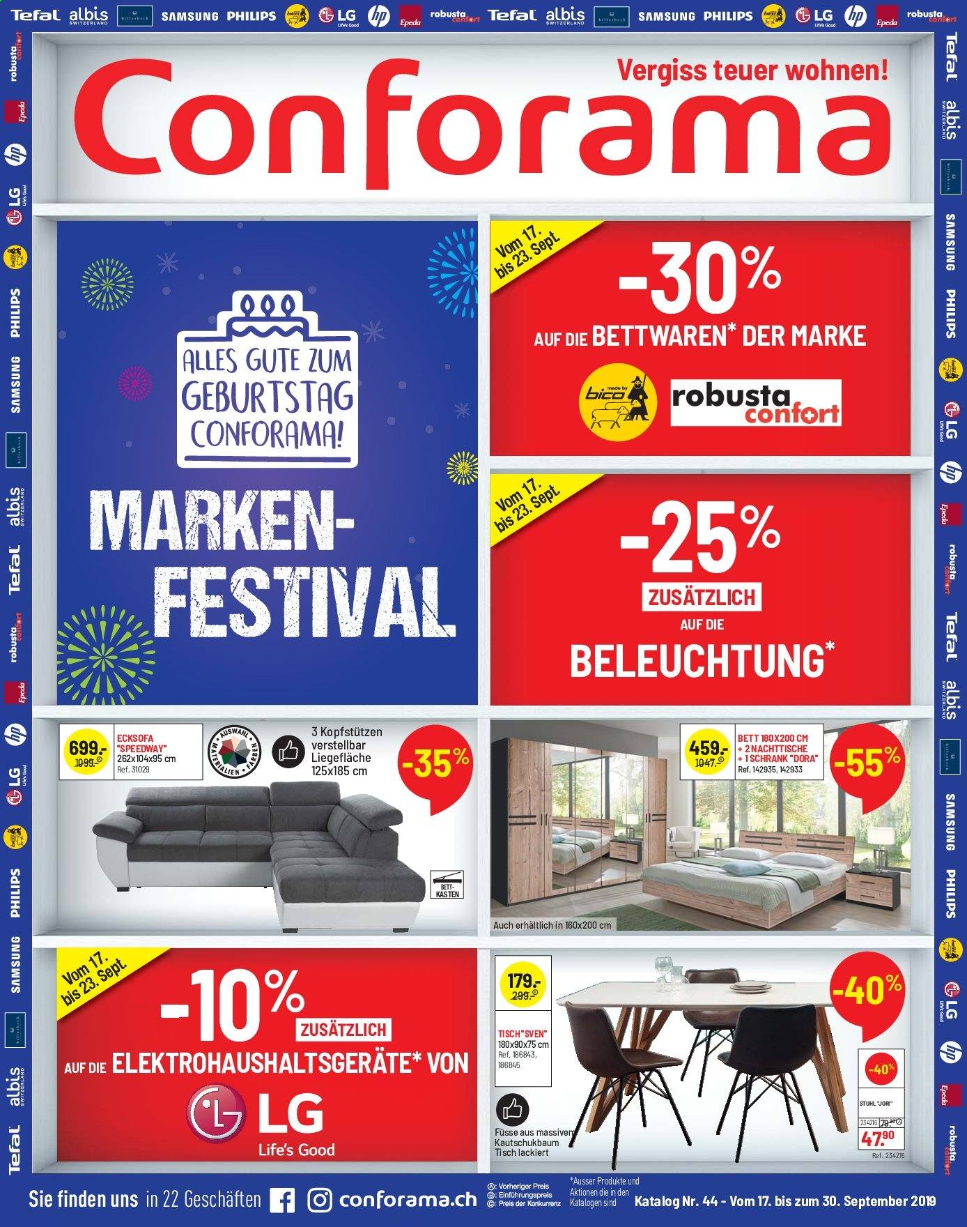 Catalogue Conforama 17.9.2019 - 30.9.2019 | Rabatt-kompass.ch
