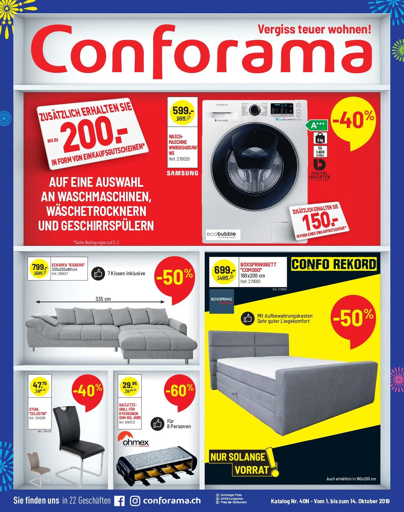 Catalogue Conforama 1.10.2019 - 14.10.2019 | Rabatt-kompass.ch