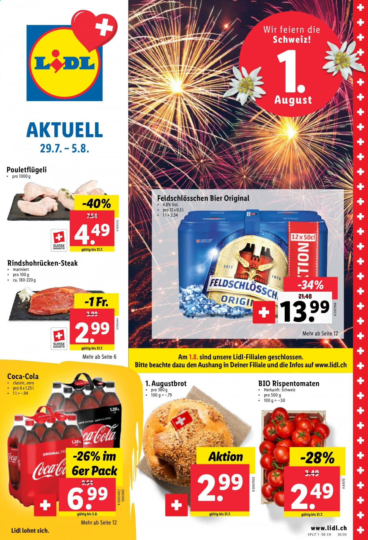 Prospekte Lidl - 29.7.2020 - 5.8.2020 - Produkte in Aktion - cola, bier, steak, rispentomaten. Seite 1.