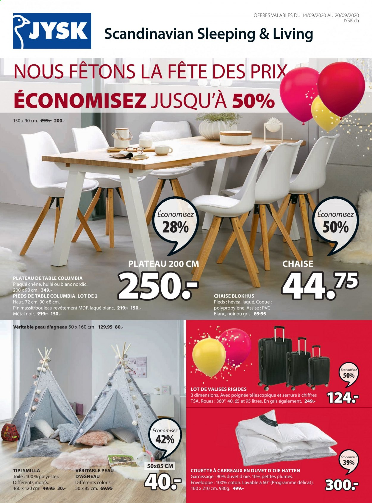 Prospekte JYSK - 14.9.2020 - 20.9.2020 - Produkte in Aktion - columbia, agneau, assise, coque, couette, enveloppe, huile, chaise, toile, oie, laque, teepee. Seite 1.