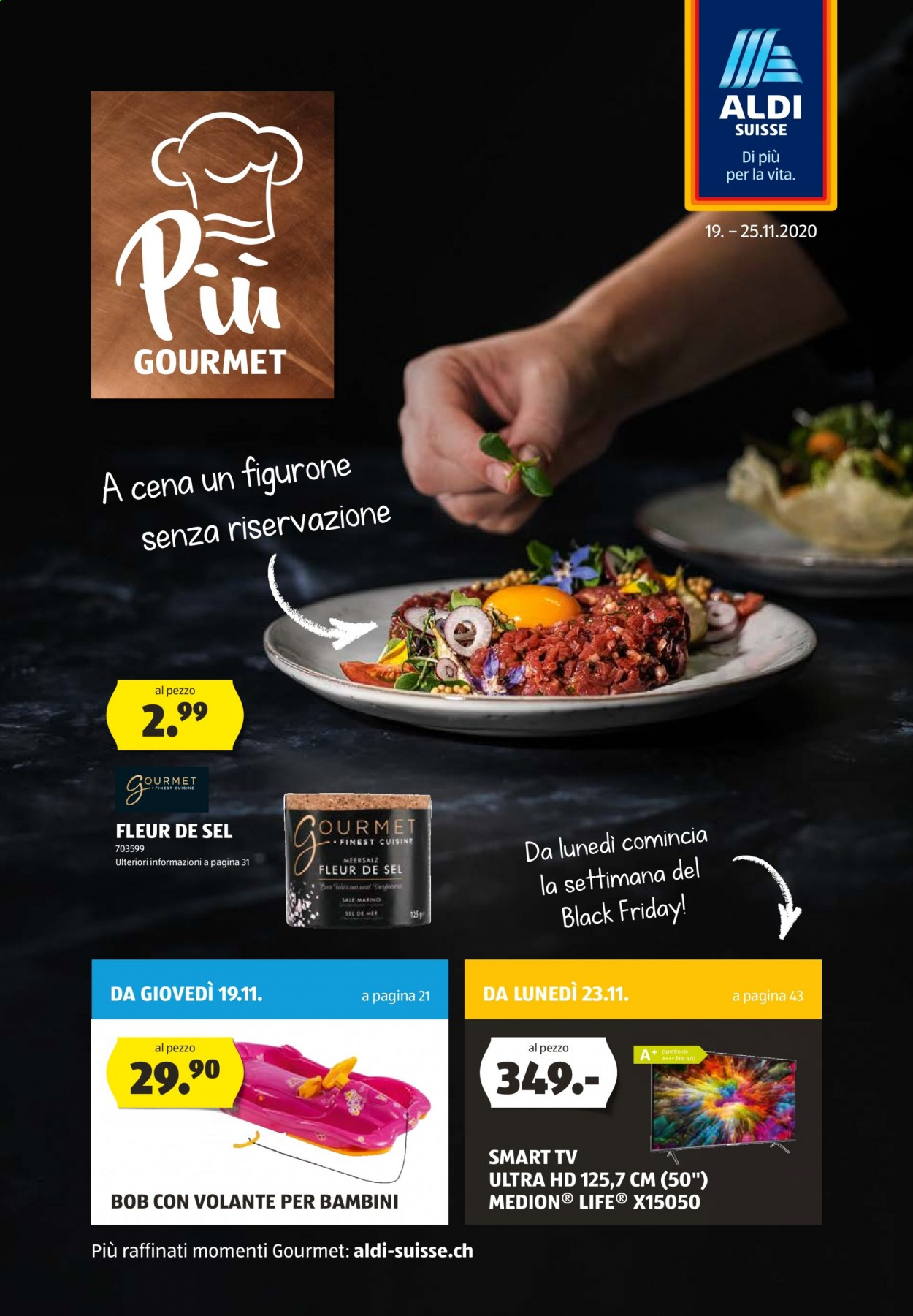 Prospekte Aldi - 19.11.2020 - 25.11.2020 - Produkte in Aktion - tv, meersalz, smart tv, ultra hd, fleur, sel, sale, gourmet, sale marino. Seite 1.