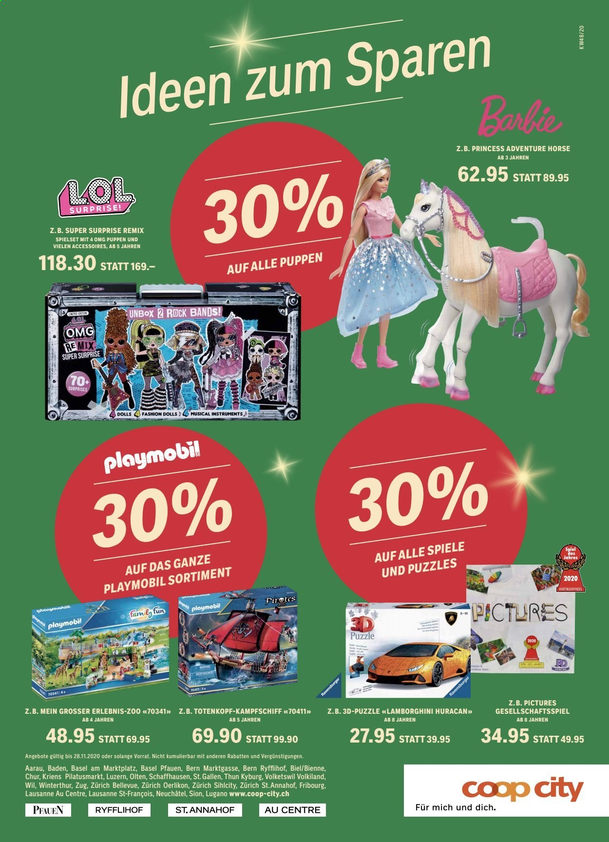 Catalogue Coop city - 22.11.2020 - 28.11.2020 - Produits soldés - barbie, spiel, puppen, puzzle, gesellschaftsspiel, surprise, playmobil. Page 1.