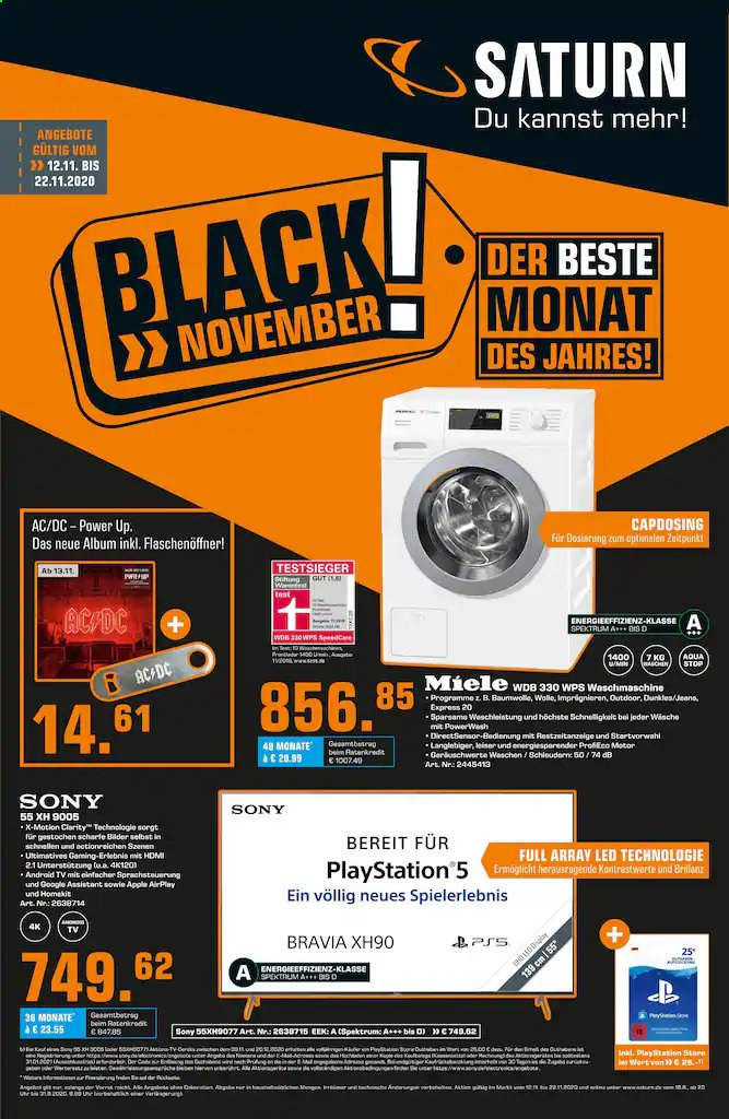 Prospekte Saturn - 12.11.2020 - 22.11.2020 - Produkte in Aktion - android, android tv, apple, waschmaschine, sony, tv, PlayStation, miele, jeans, hdmi, motor. Seite 1.