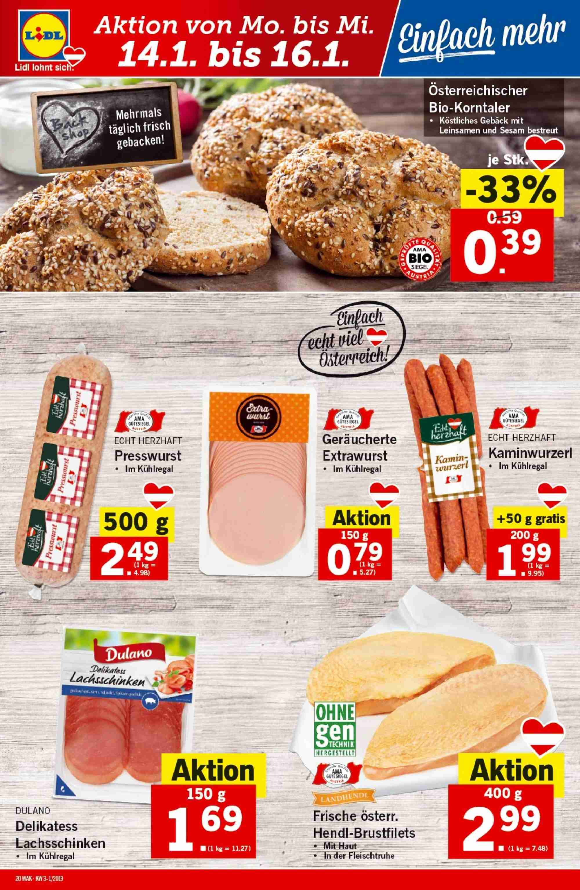 Angebote Lidl - 10.1.2019 - 16.1.2019. Seite 20.