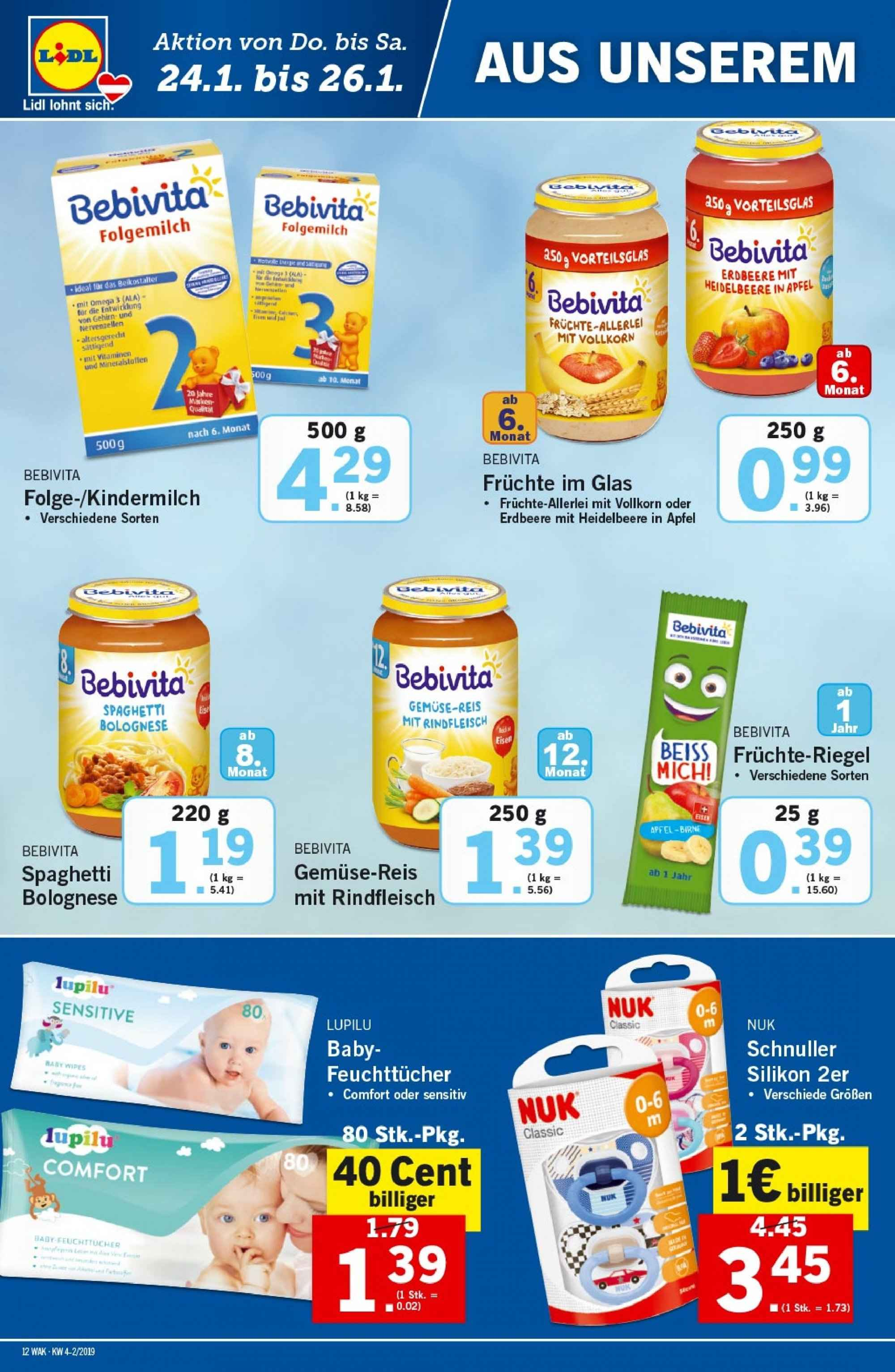 Angebote Lidl - 24.1.2019 - 30.1.2019. Seite 12.