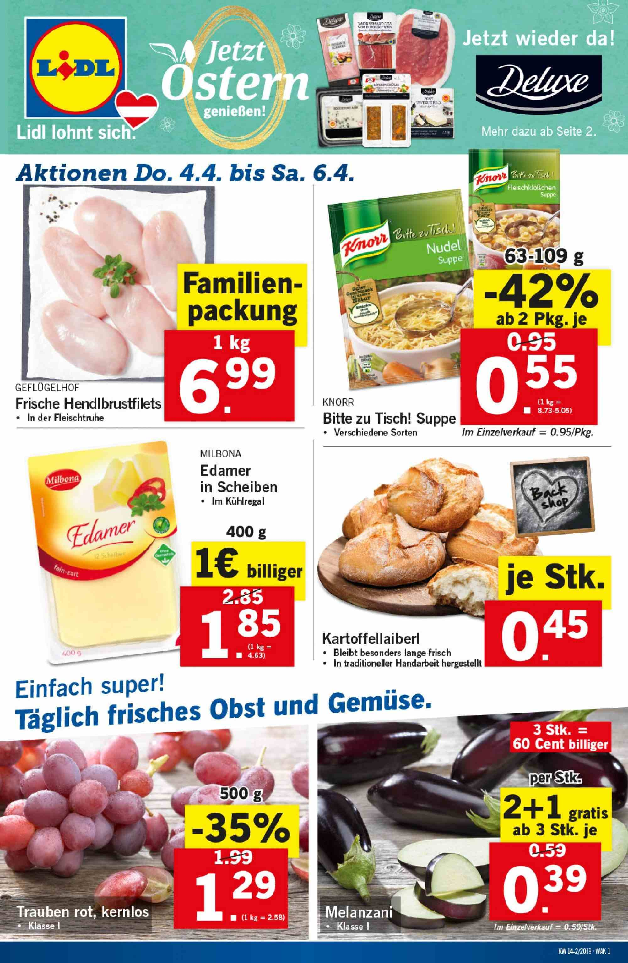 Angebote Lidl - 4.4.2019 - 10.4.2019. Seite 1.
