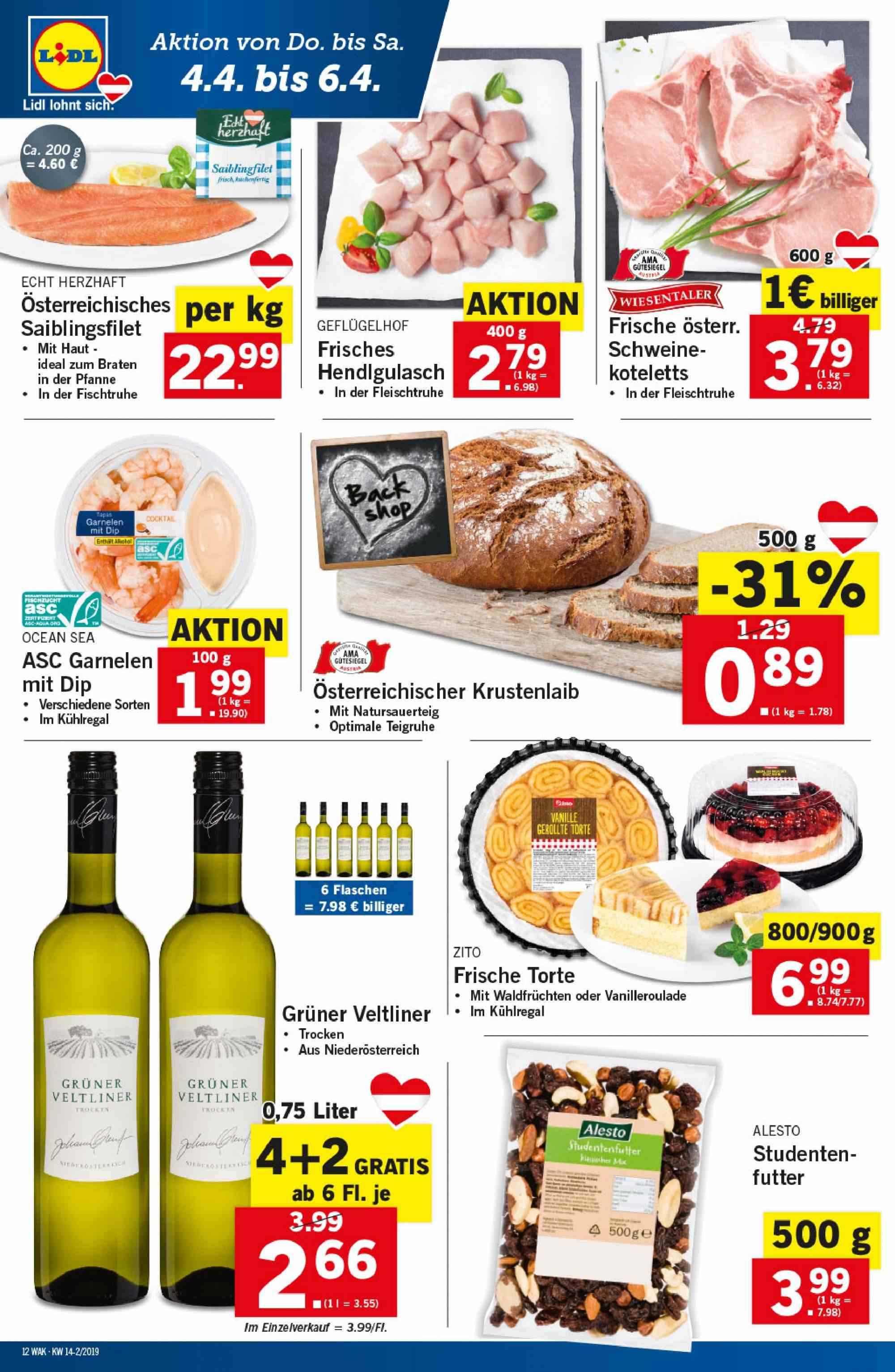 Angebote Lidl - 4.4.2019 - 10.4.2019. Seite 12.