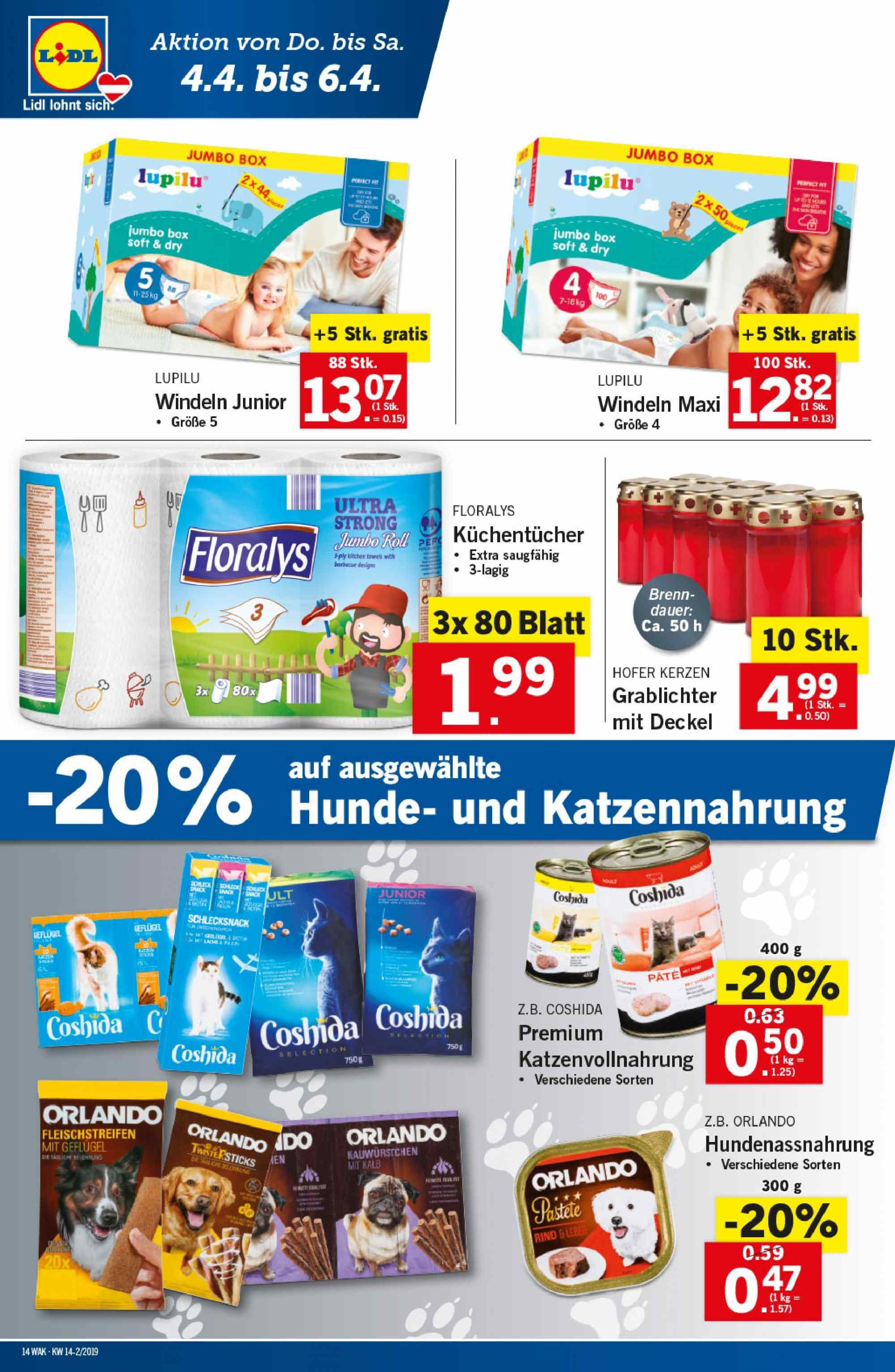 Angebote Lidl - 4.4.2019 - 10.4.2019. Seite 14.