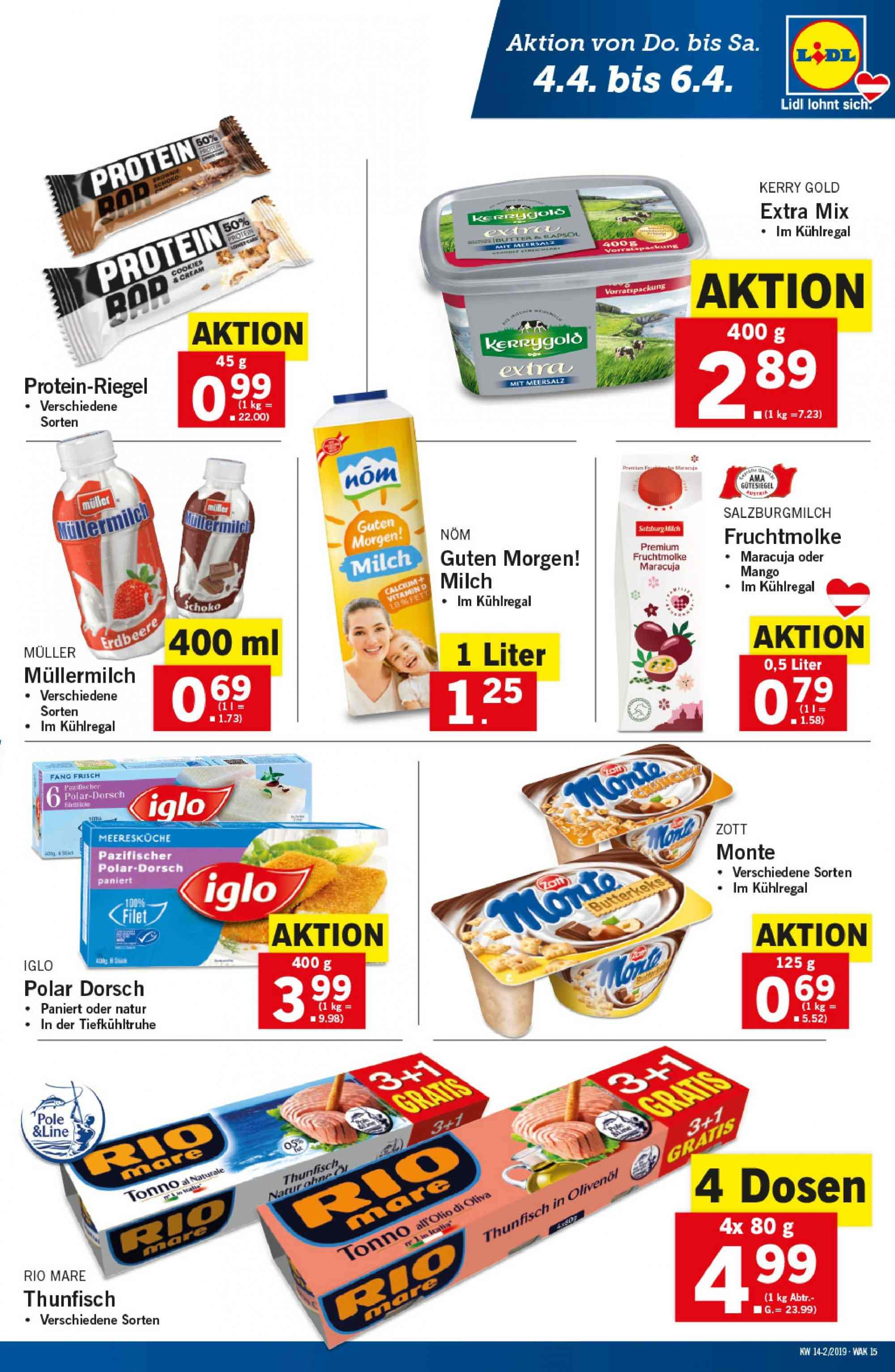 Angebote Lidl - 4.4.2019 - 10.4.2019. Seite 15.