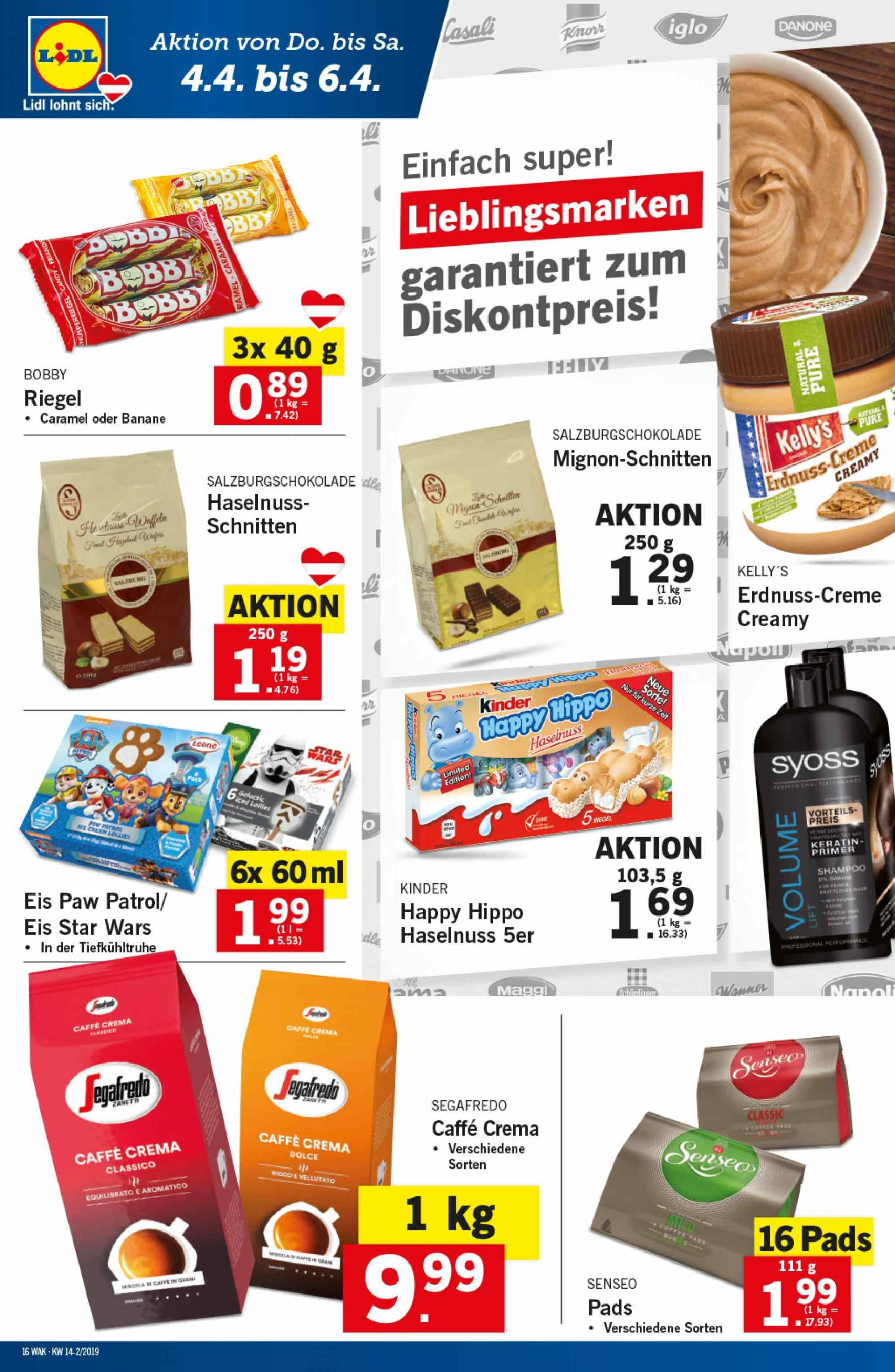 Angebote Lidl - 4.4.2019 - 10.4.2019. Seite 16.