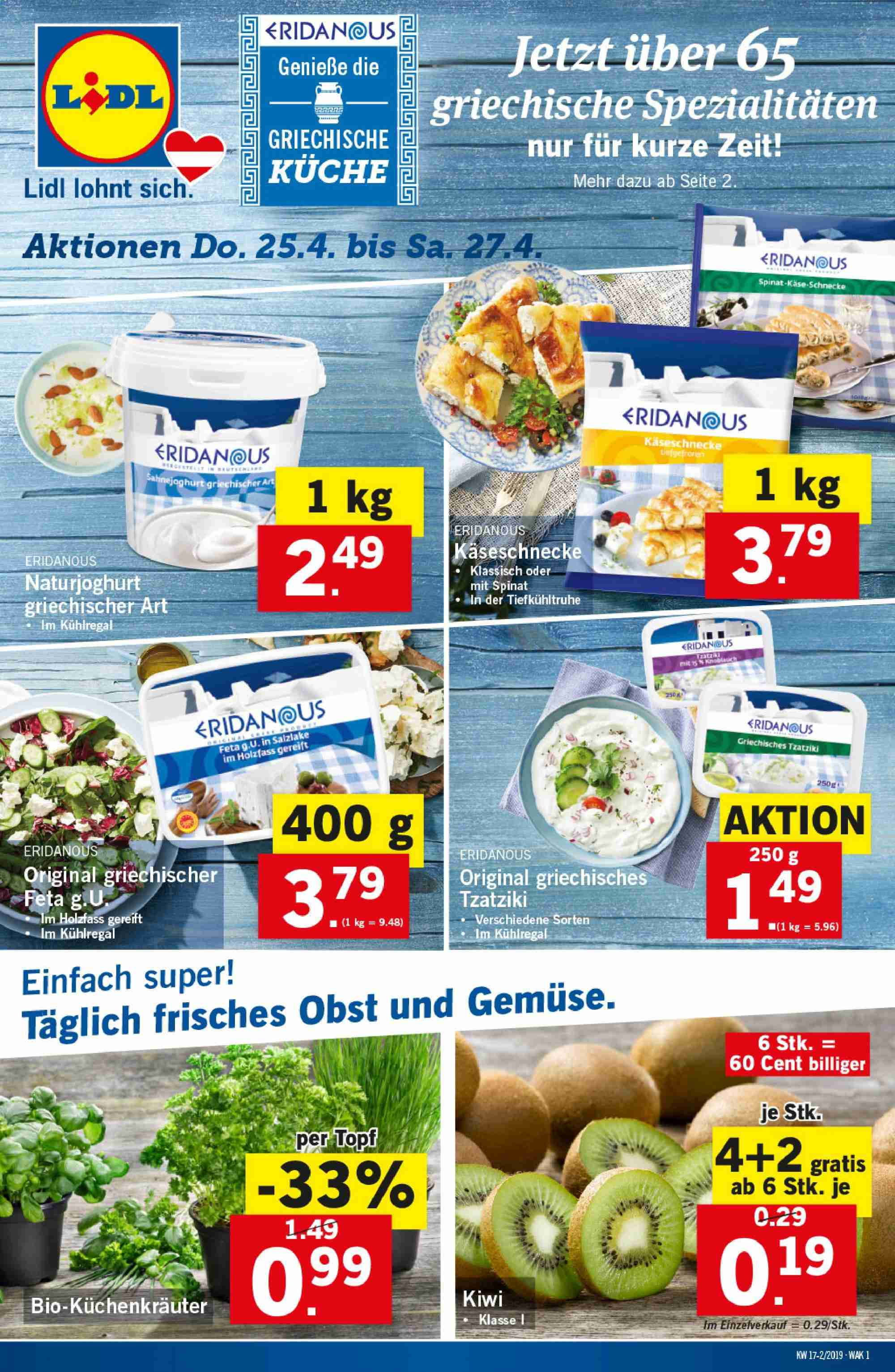 Angebote Lidl - 25.4.2019 - 30.4.2019. Seite 1.
