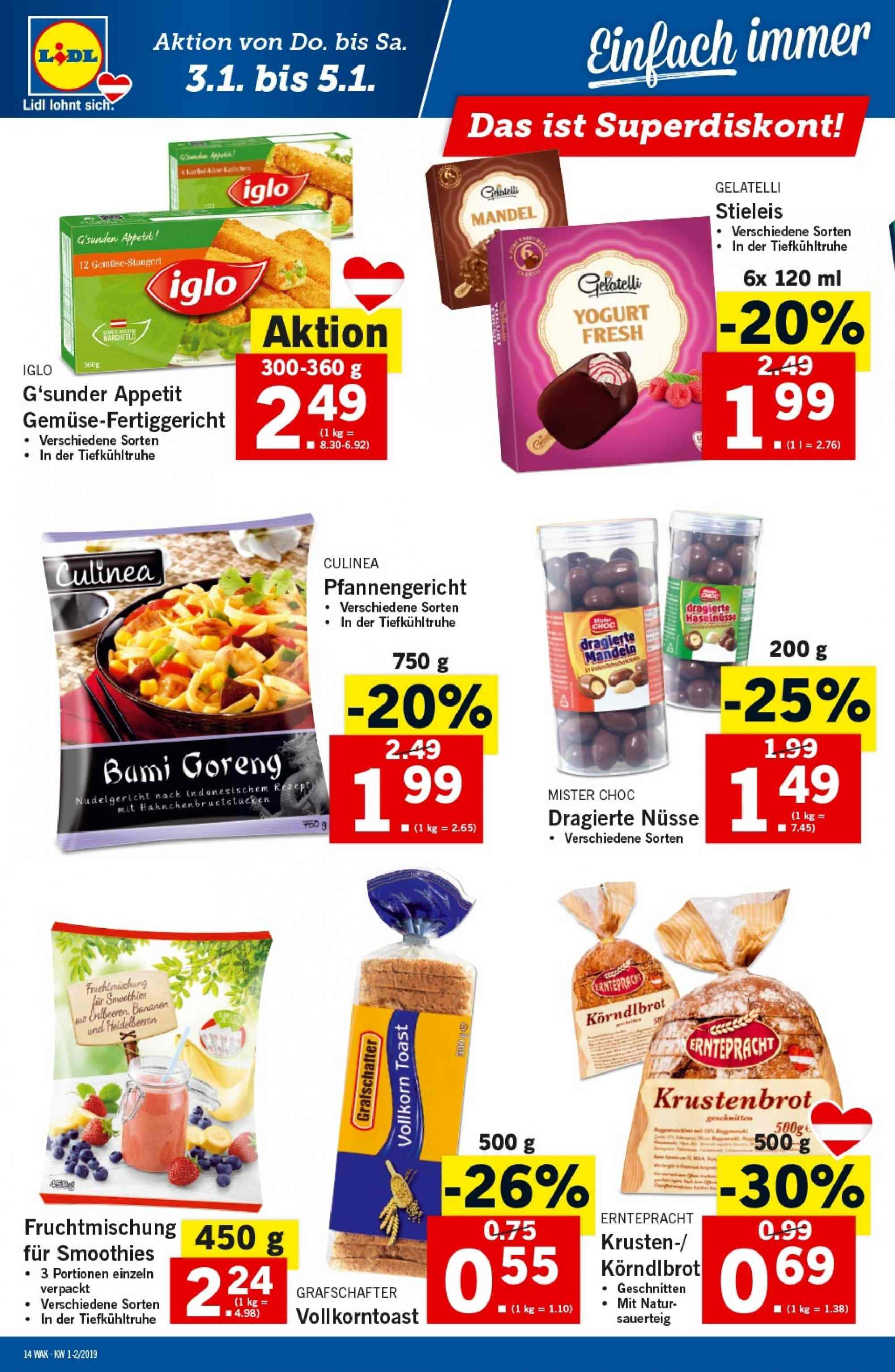 Angebote Lidl - 3.1.2019 - 9.1.2019. Seite 14.