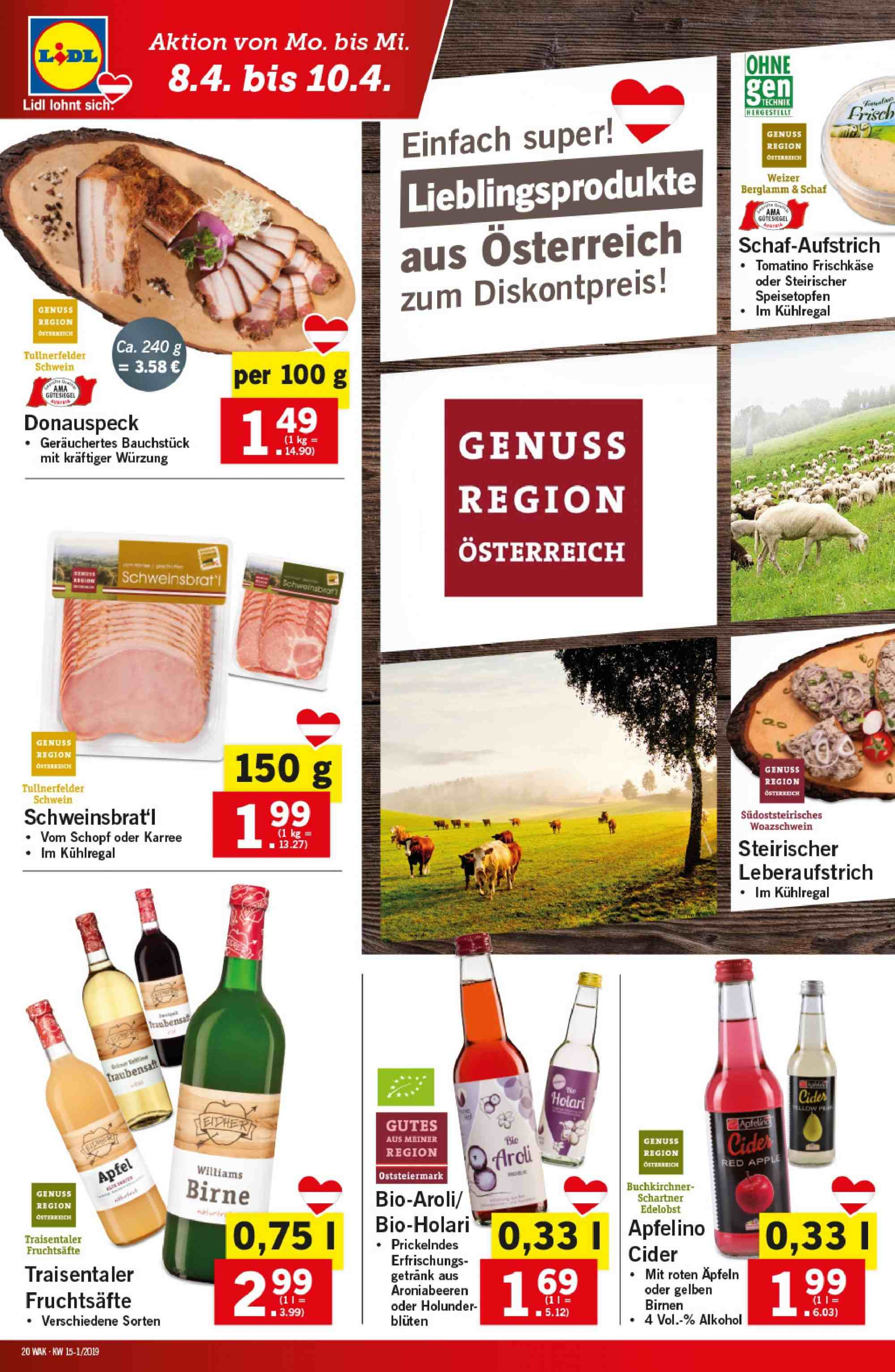 Angebote Lidl - 4.4.2019 - 10.4.2019. Seite 20.
