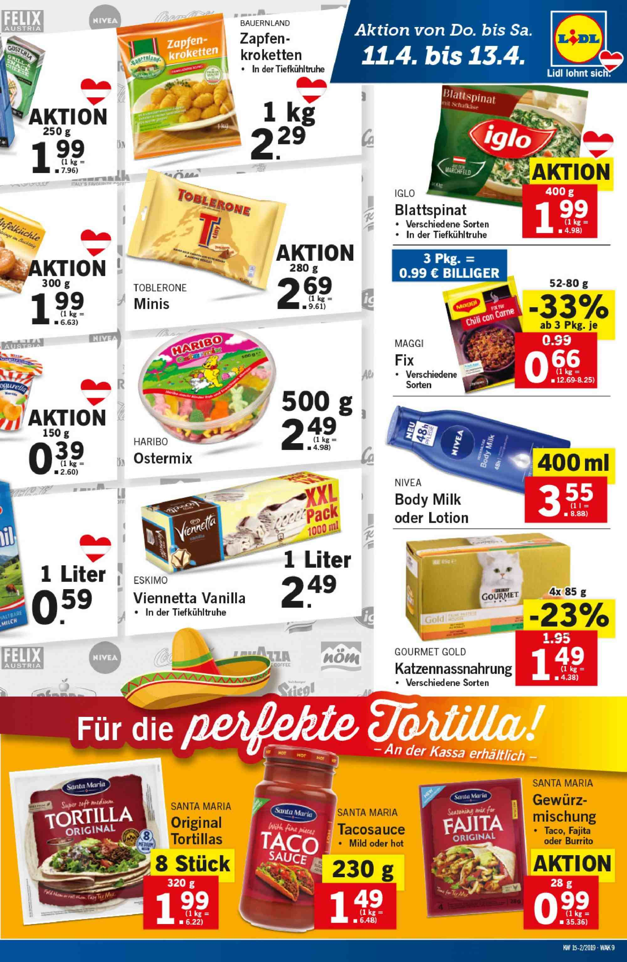 Angebote Lidl - 11.4.2019 - 17.4.2019. Seite 9.