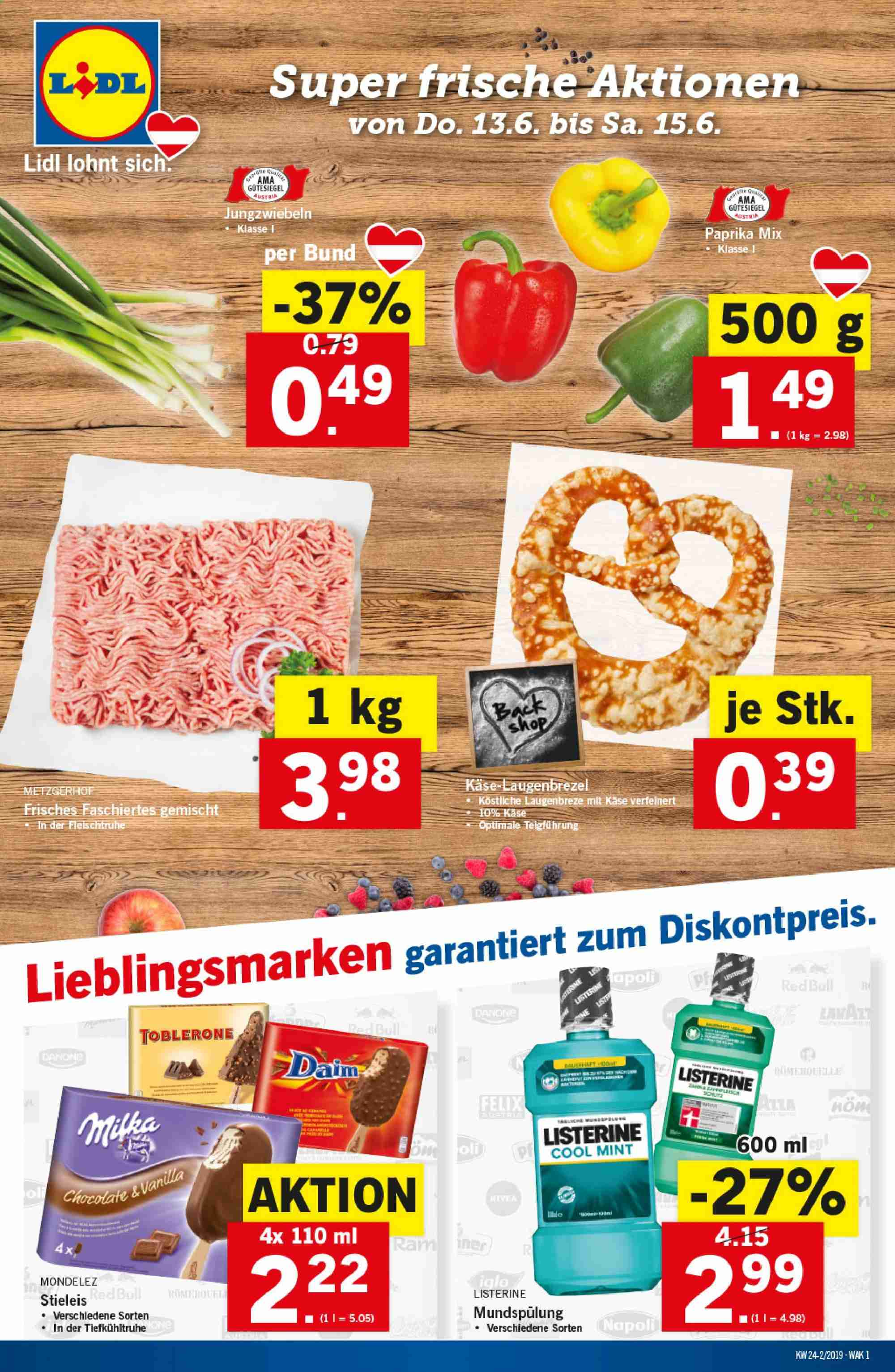 Angebote Lidl - 13.6.2019 - 19.6.2019. Seite 1.