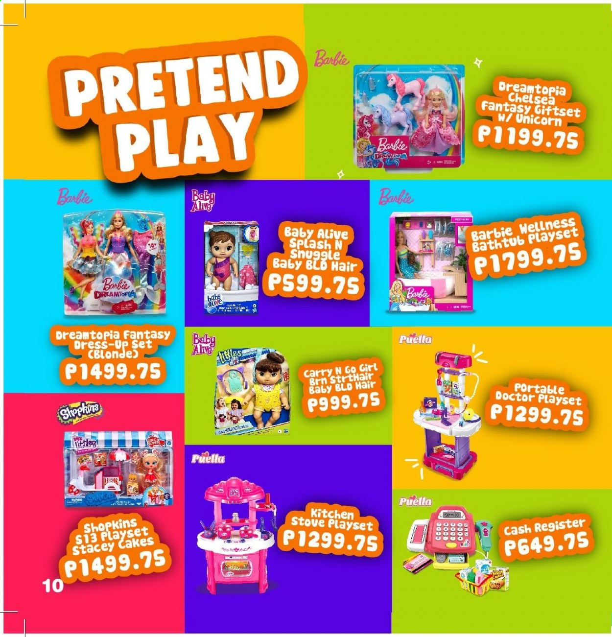 Toy Kingdom offer  - Sales products - Barbie, play set, Shopkins, stove. Page 10.