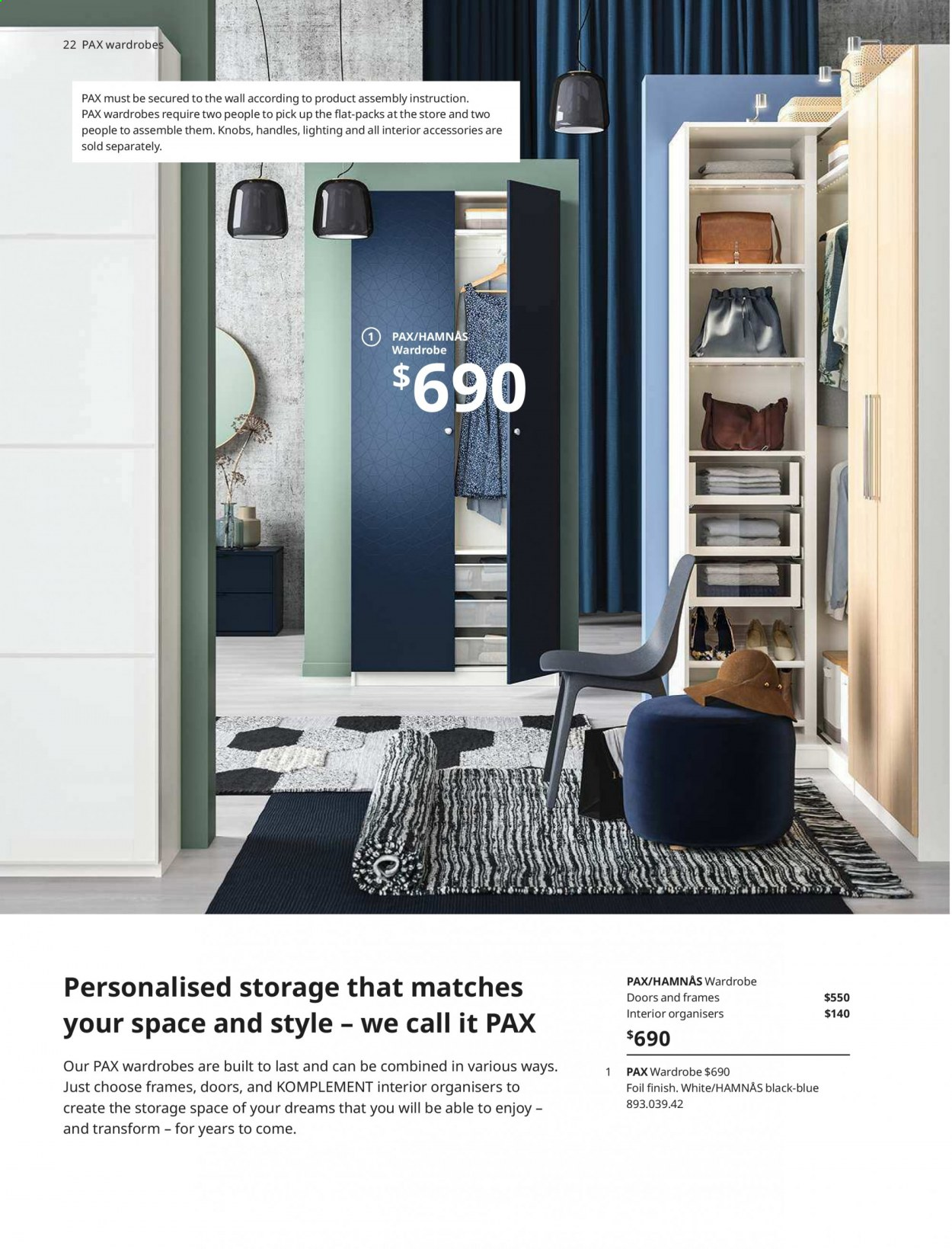 IKEA offer  - 1.4.2020 - 31.7.2020 - Sales products - door, Furniture, wardrobe, handles. Page 22.