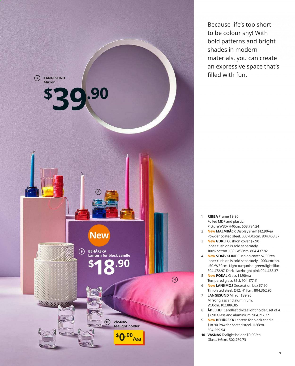 IKEA offer  - Sales products - box, candle, candlestick, cushion, glass, mirror, shades, shelf, Holder, powder, lantern. Page 7.