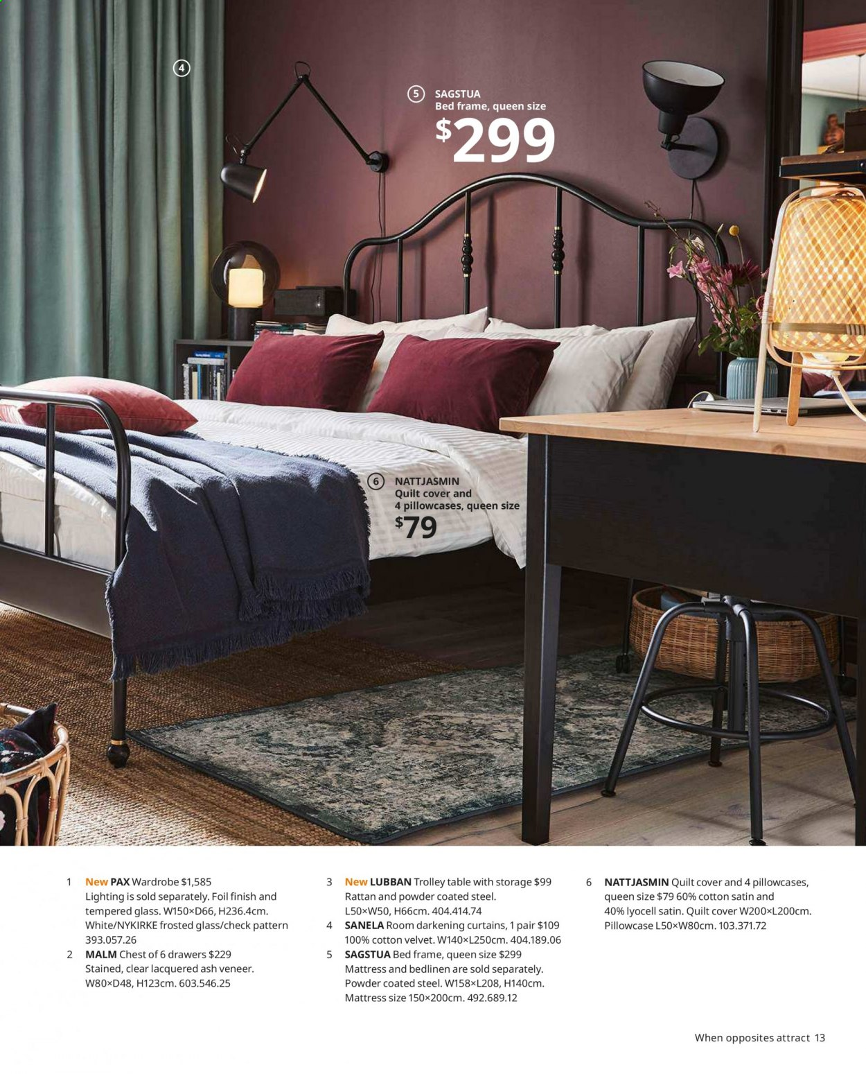 IKEA offer  - Sales products - bed, bed frame, glass, mattress, table, wardrobe, pillowcases, powder, quilt, trolley. Page 13.