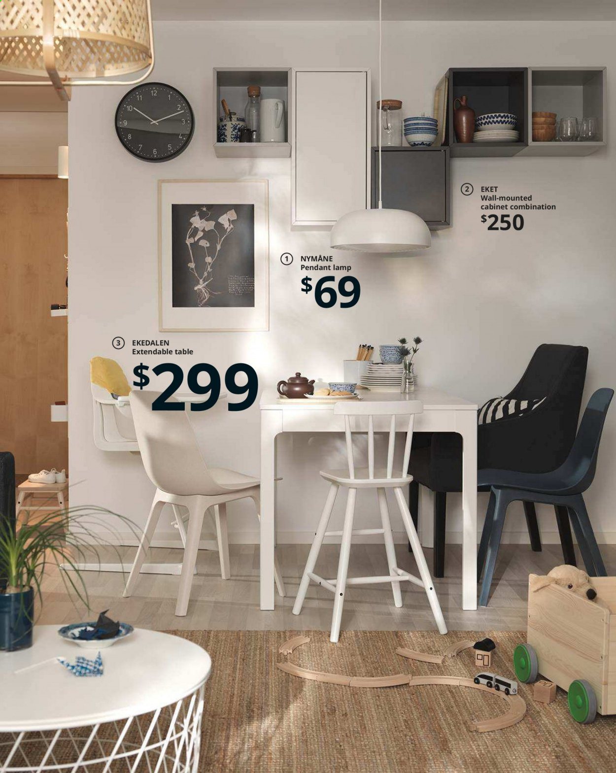 IKEA offer  - Sales products - cabinet, extendable table, lamp, table, pendant, pendant lamp. Page 20.