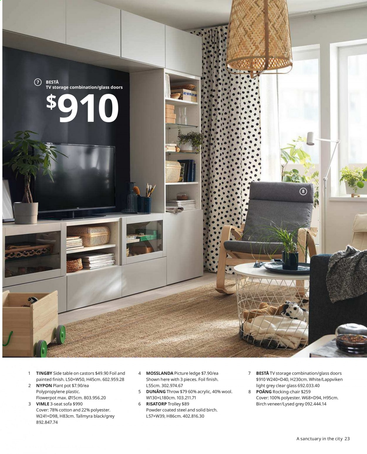 IKEA offer  - Sales products - arm chair, door, glass, sofa, table, chair, plant pot, pot, powder, trolley. Page 23.