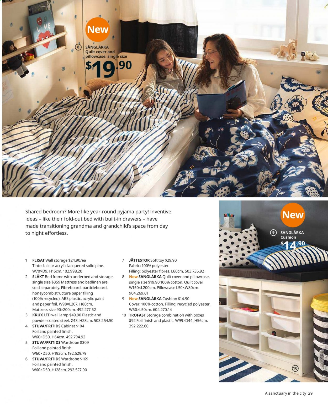 IKEA offer  - Sales products - bed, bed frame, box, cabinet, cushion, lamp, mattress, wall lamp, wardrobe, pillowcases, powder, quilt, toys, paper. Page 29.