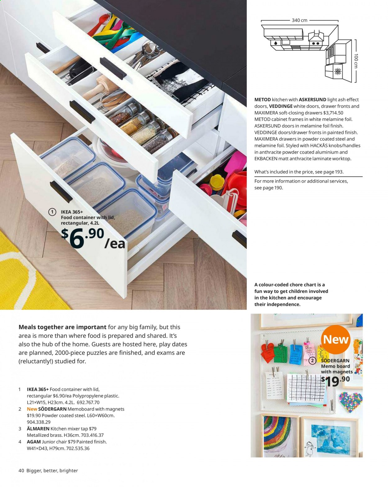 IKEA offer  - Sales products - cabinet, door, drawer, drawer fronts, lid, mixer, handles, chair, junior chair, powder, puzzle. Page 40.