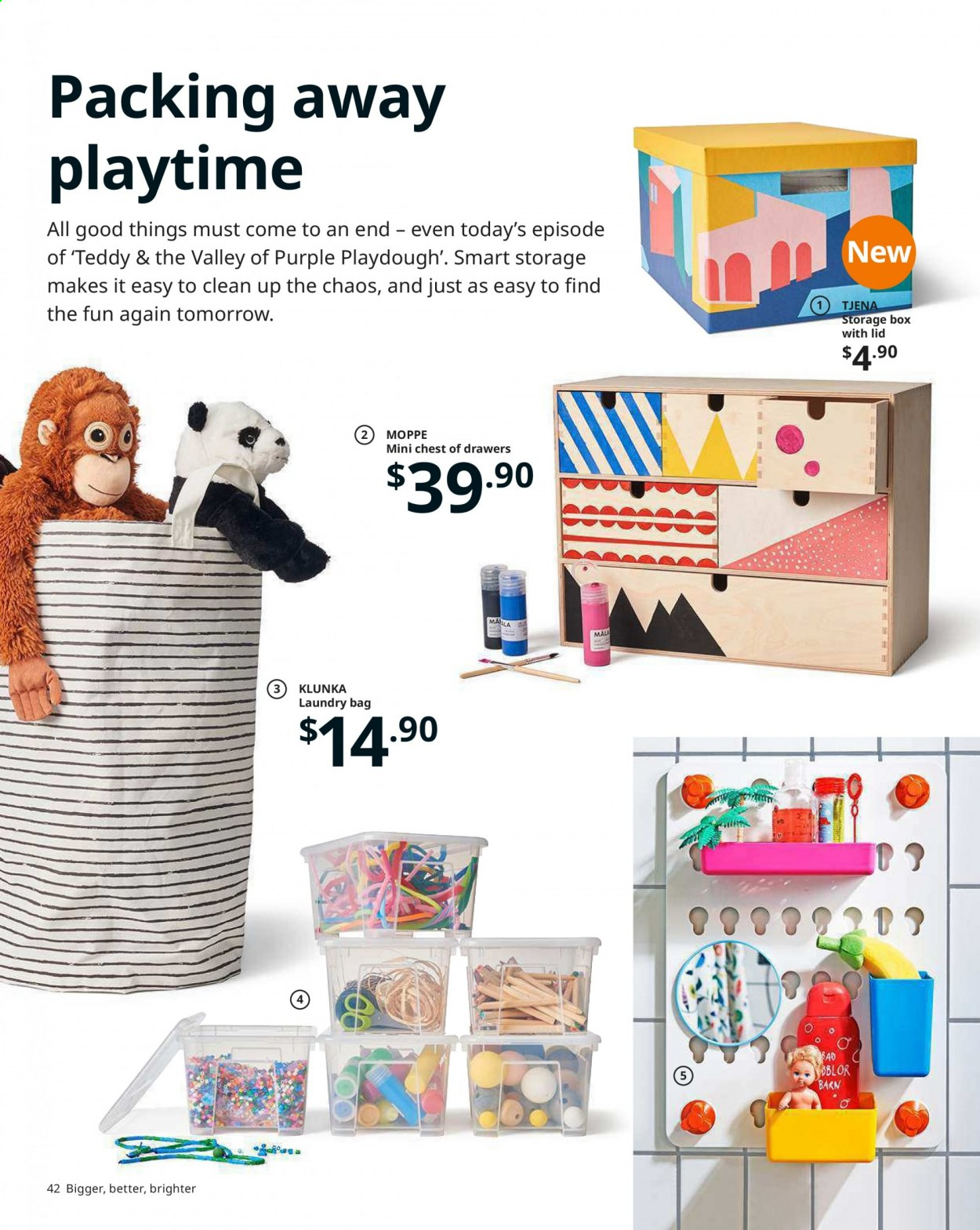 IKEA offer  - Sales products - bag, drawer, lid, plywood, powder, toys, storage box, paper. Page 42.