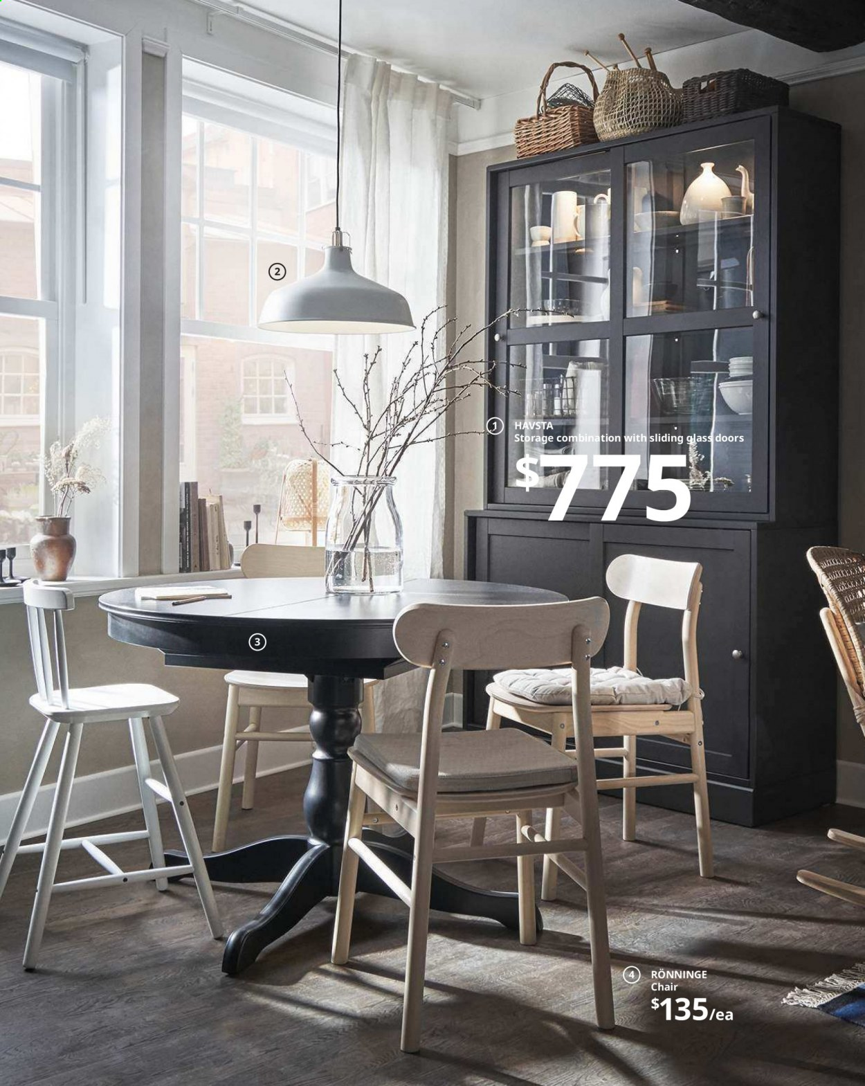 IKEA offer  - Sales products - bag, door, extendable table, glass, lamp, table, chair, powder, pendant, pendant lamp. Page 44.