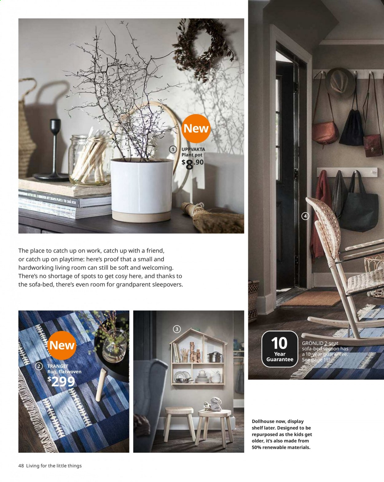 IKEA offer  - Sales products - arm chair, bed, coffee table, doll, lamp, reading lamp, rug, sofa, table, wall shelf, hook, chair, plant pot, pot, powder. Page 48.