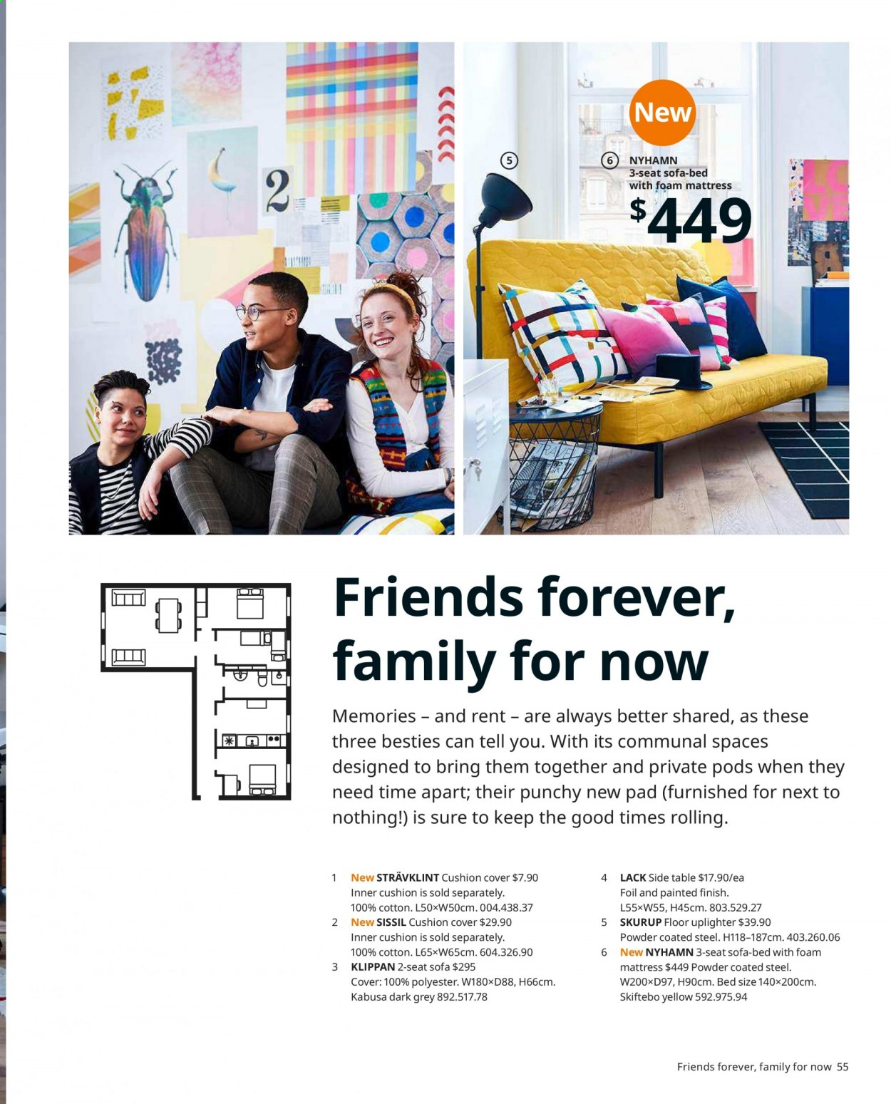 IKEA offer  - Sales products - always, bed, cushion, mattress, sofa, table, powder, pad. Page 55.
