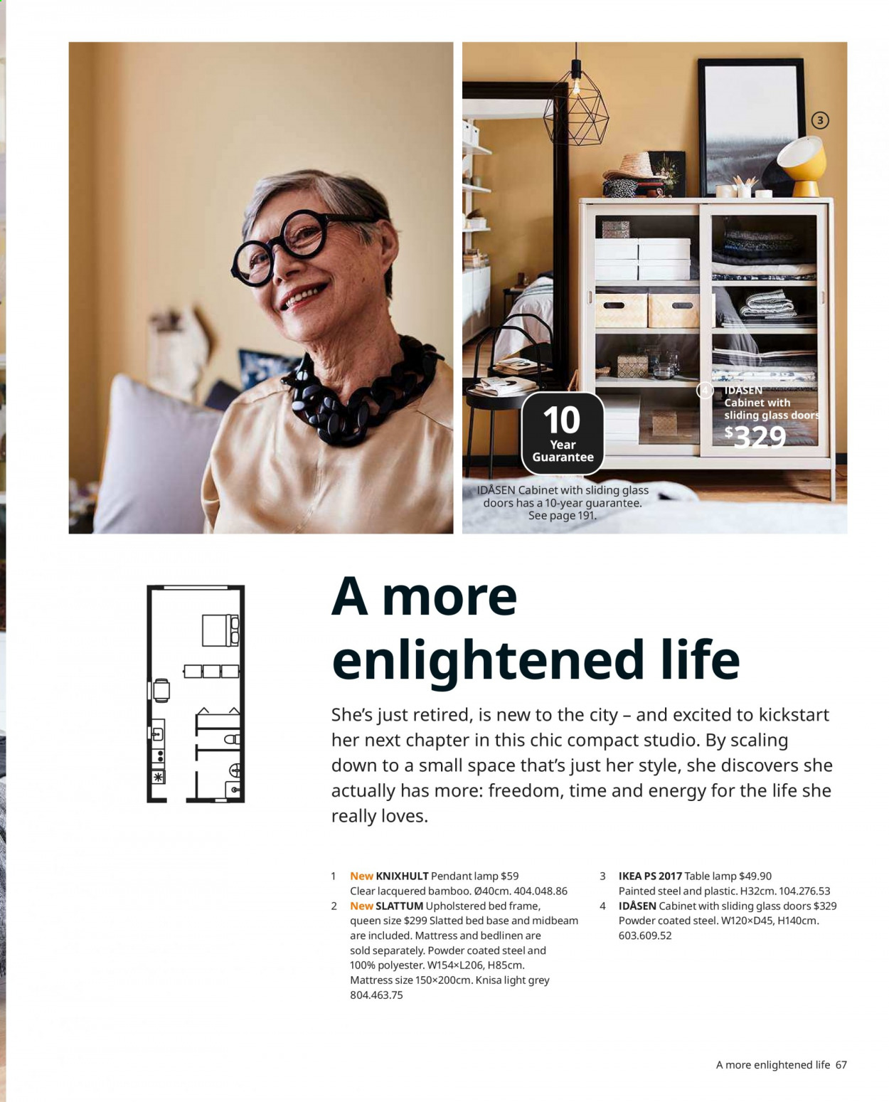 IKEA offer  - Sales products - bed, bed frame, cabinet, door, glass, lamp, mattress, table lamp, upholstered bed, powder, pendant, pendant lamp. Page 67.